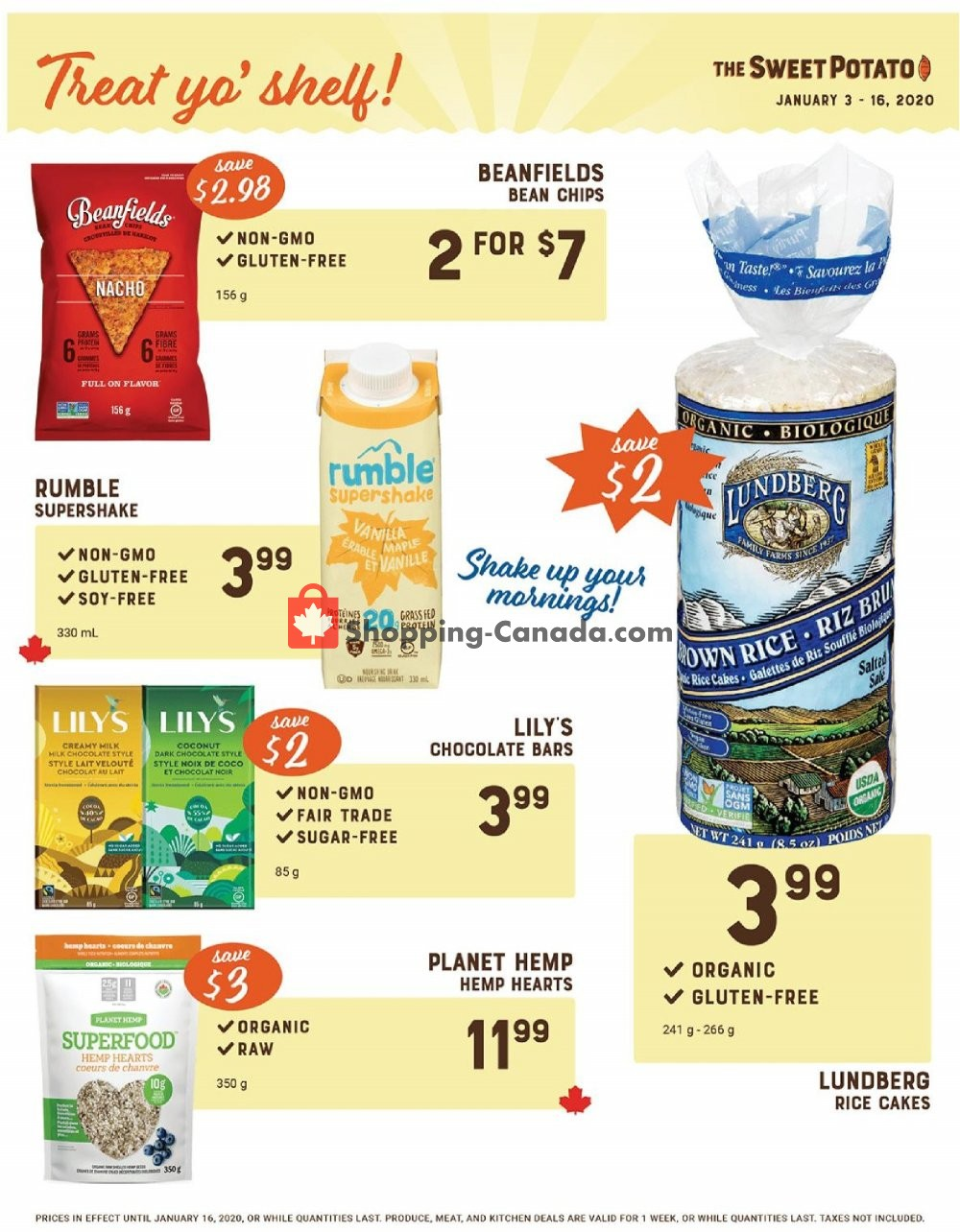 Flyer The Sweet Potato Canada - from Friday January 10, 2020 to Thursday January 16, 2020