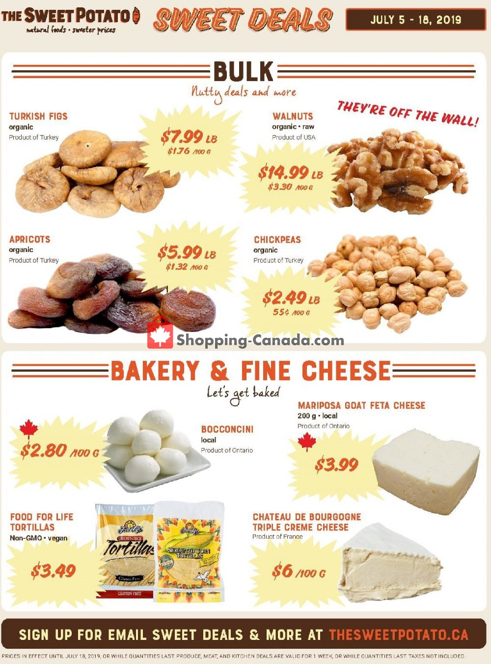 Flyer The Sweet Potato Canada - from Friday July 12, 2019 to Thursday July 18, 2019
