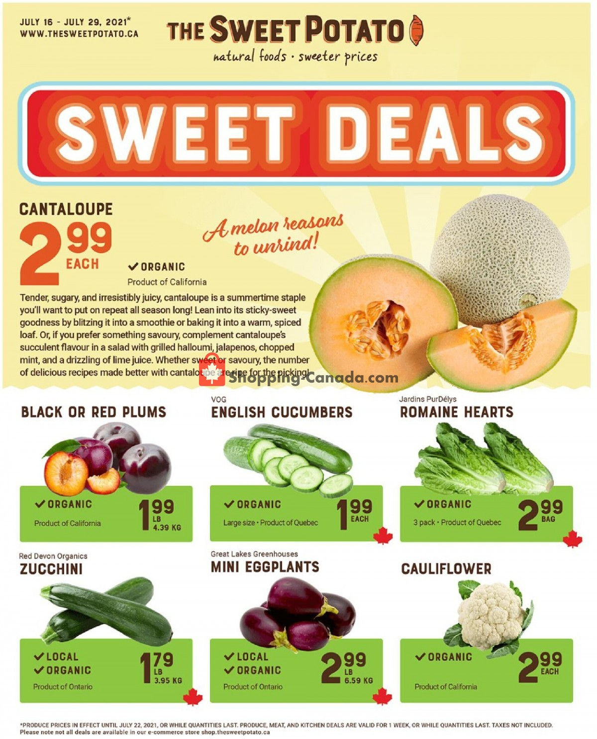 Flyer The Sweet Potato Canada - from Friday July 16, 2021 to Thursday July 29, 2021