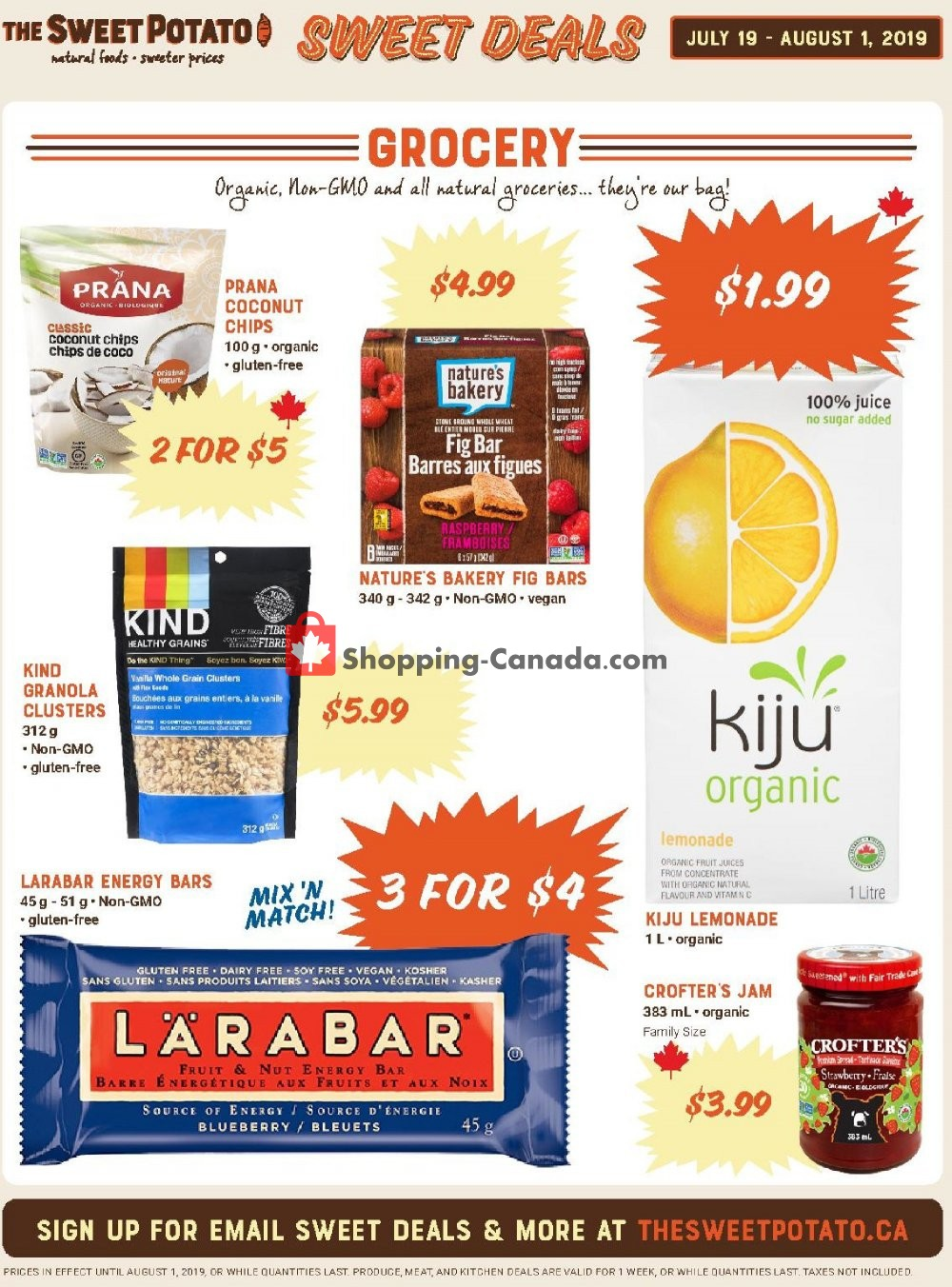 Flyer The Sweet Potato Canada - from Friday July 19, 2019 to Thursday July 25, 2019