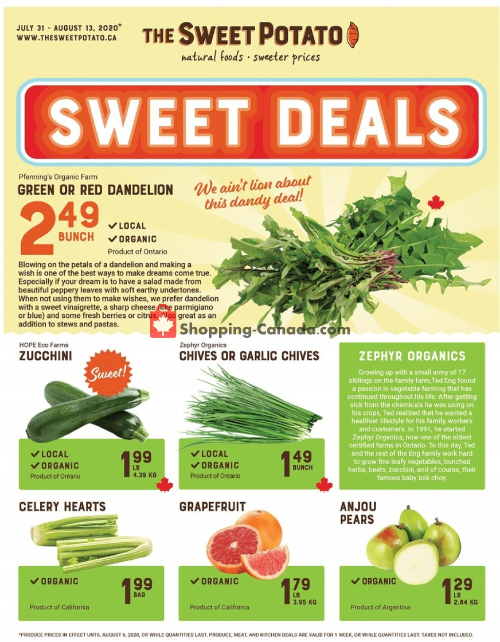Flyer The Sweet Potato Canada - from Friday July 31, 2020 to Thursday August 13, 2020