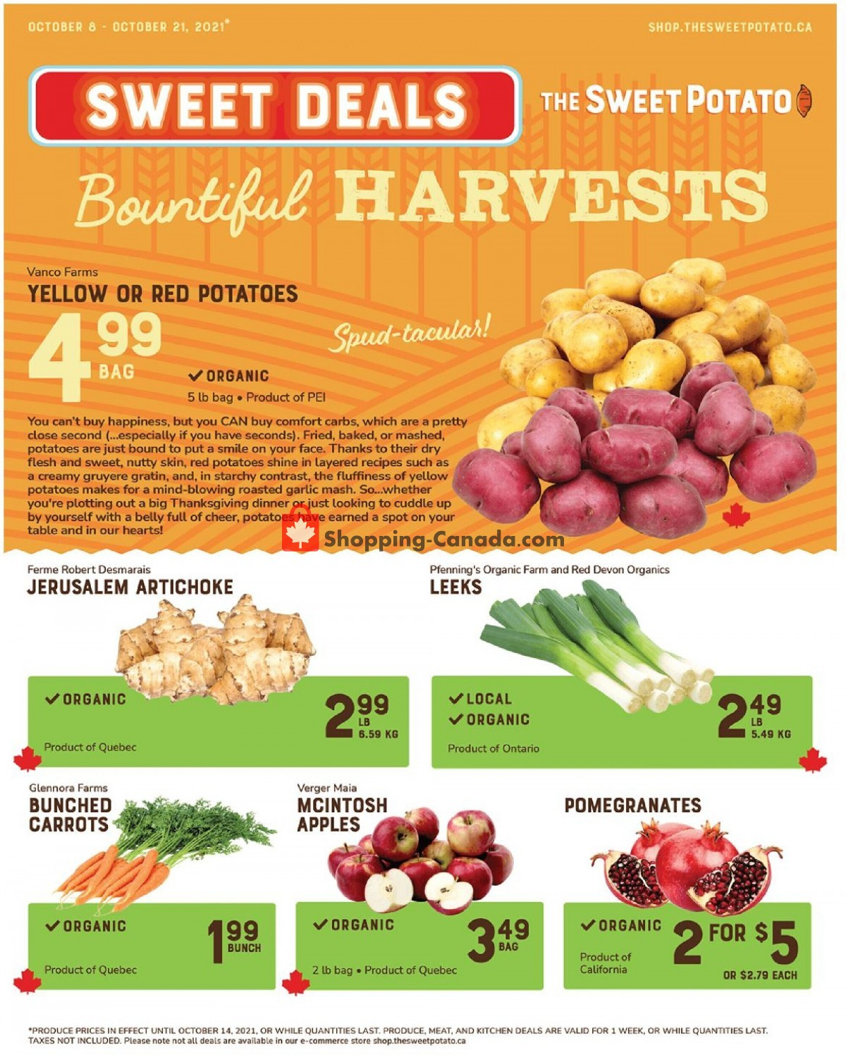 Flyer The Sweet Potato Canada - from Friday October 8, 2021 to Thursday October 21, 2021