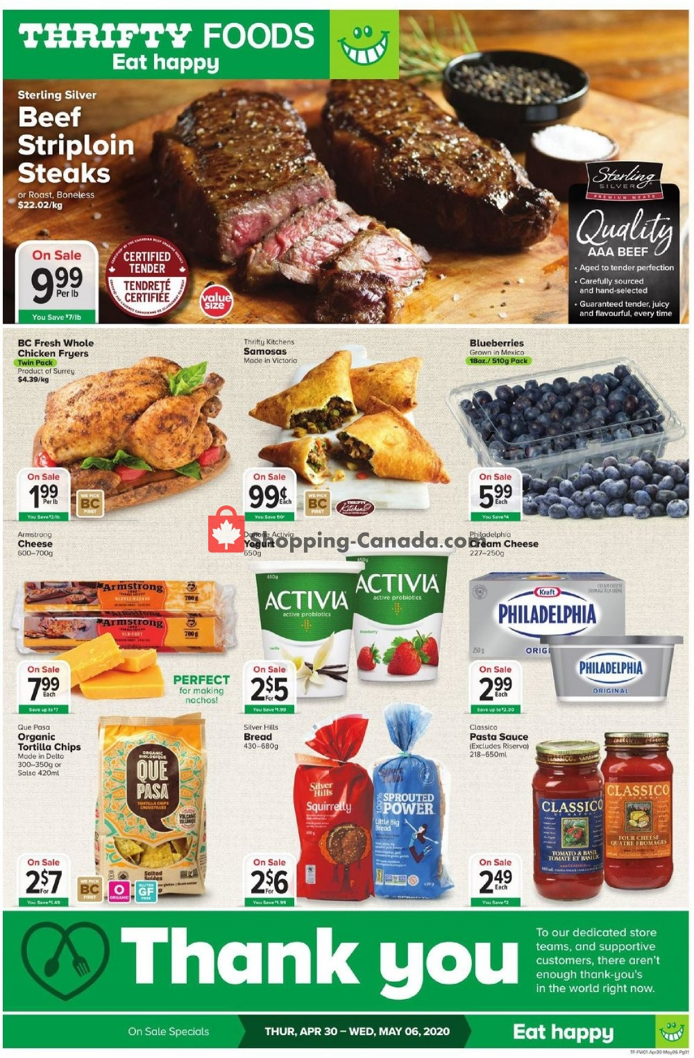Flyer Thrifty Foods Canada - from Thursday April 30, 2020 to Wednesday May 6, 2020