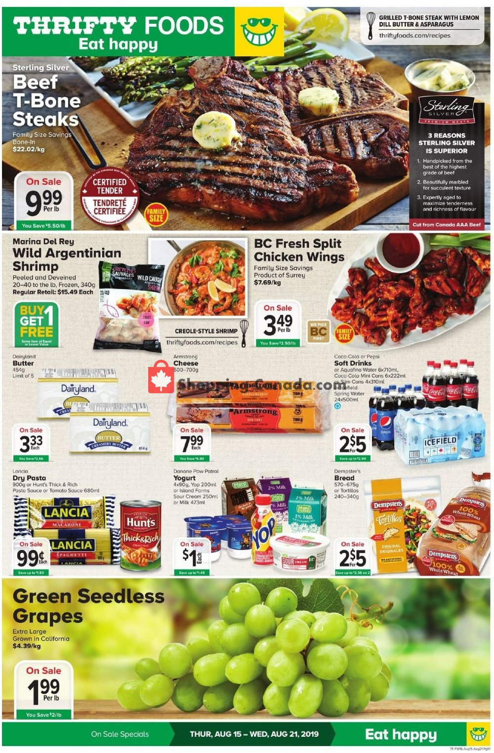 Flyer Thrifty Foods Canada - from Thursday August 15, 2019 to Wednesday August 21, 2019