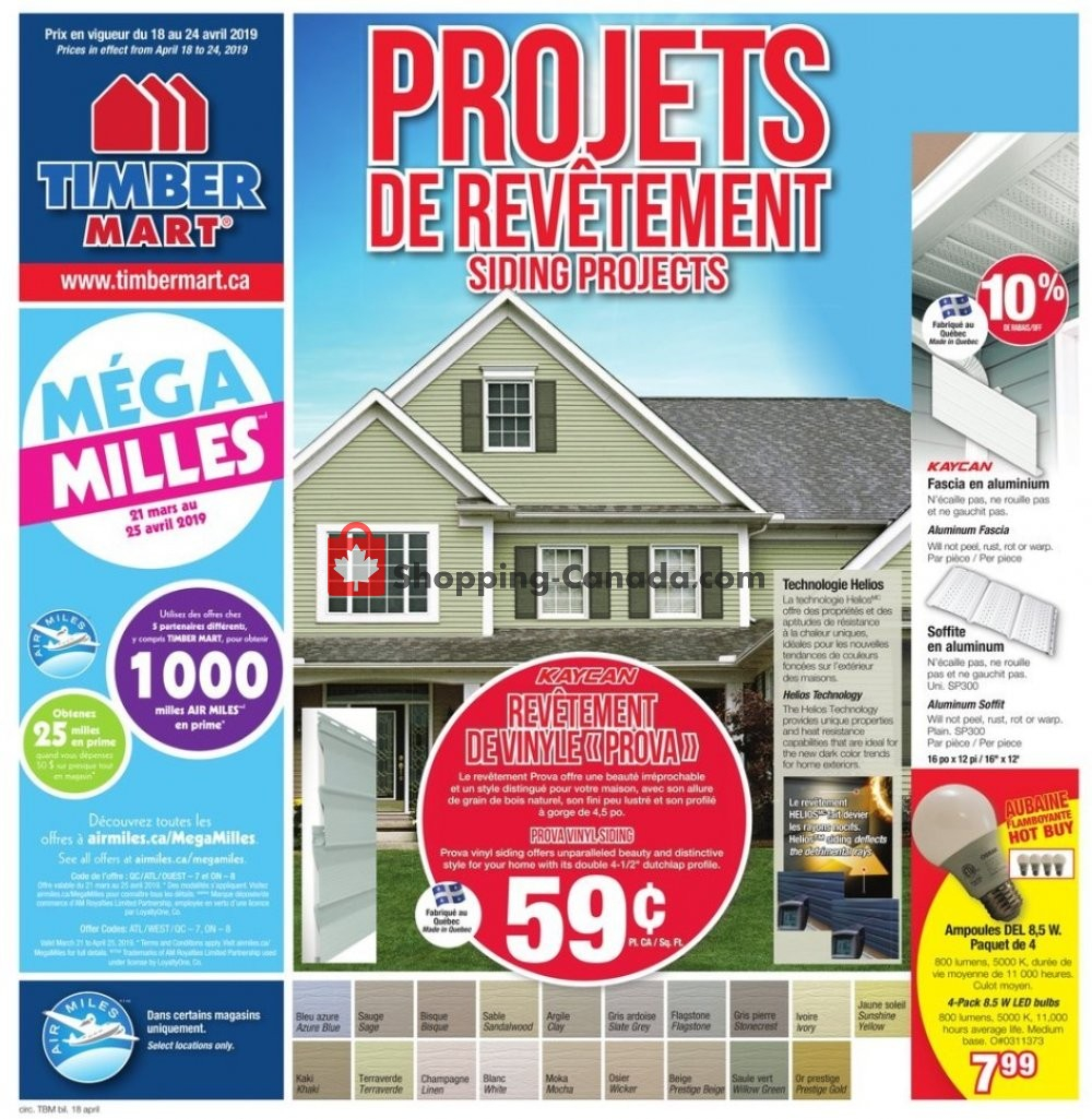 Flyer Timber Mart Canada - from Thursday April 18, 2019 to Wednesday April 24, 2019