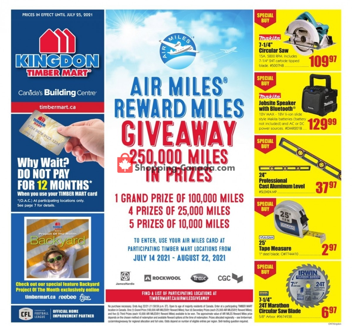 Flyer Timber Mart Canada - from Wednesday July 14, 2021 to Sunday July 25, 2021
