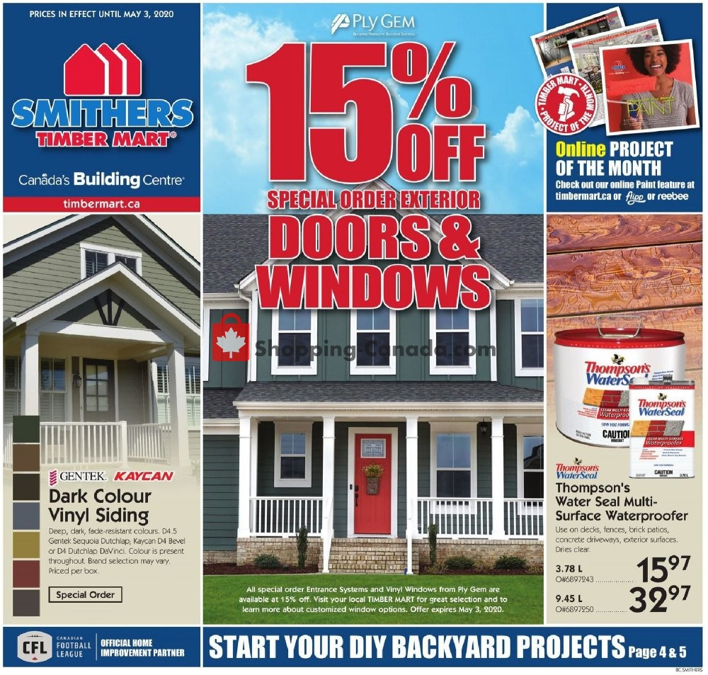 Flyer Timber Mart Canada - from Wednesday April 22, 2020 to Sunday May 3, 2020