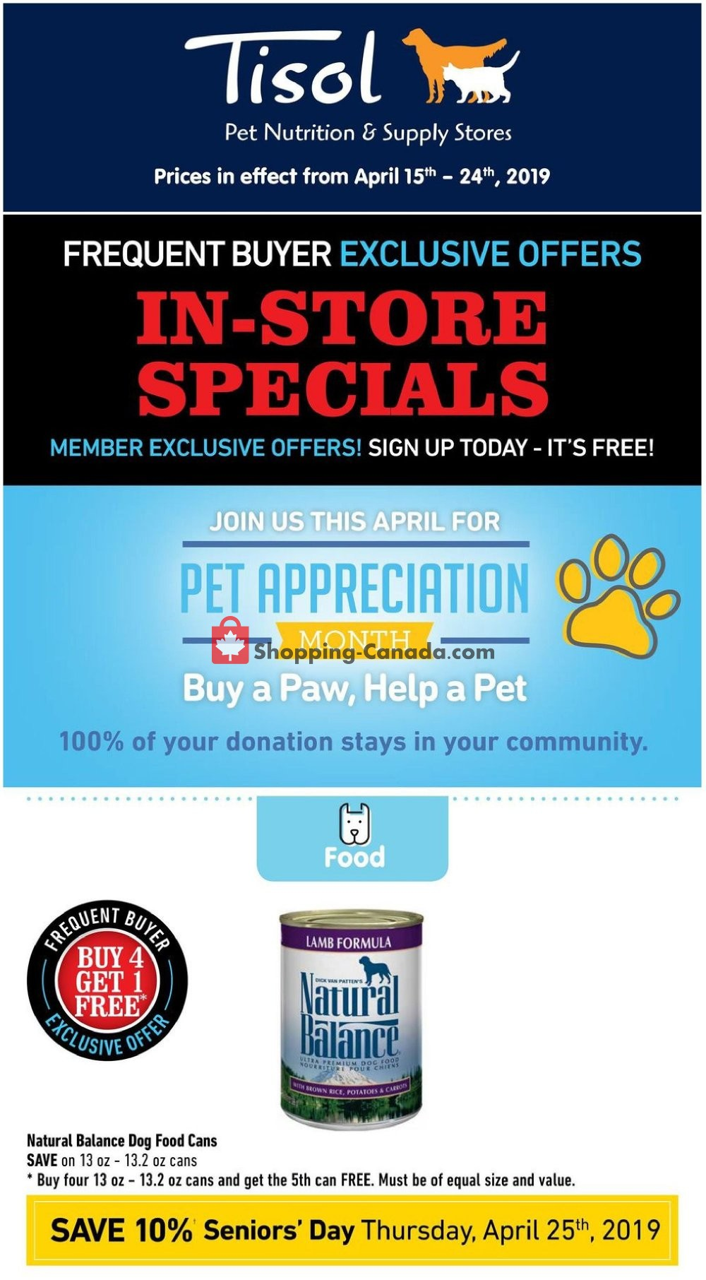 Flyer Tisol Pet Nutrition And Supply Stores Canada - from Monday April 15, 2019 to Wednesday April 24, 2019