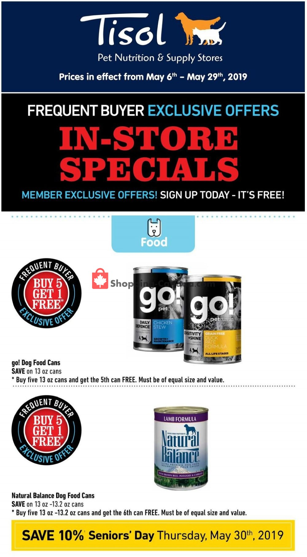 Flyer Tisol Pet Nutrition And Supply Stores Canada - from Monday May 6, 2019 to Wednesday May 29, 2019
