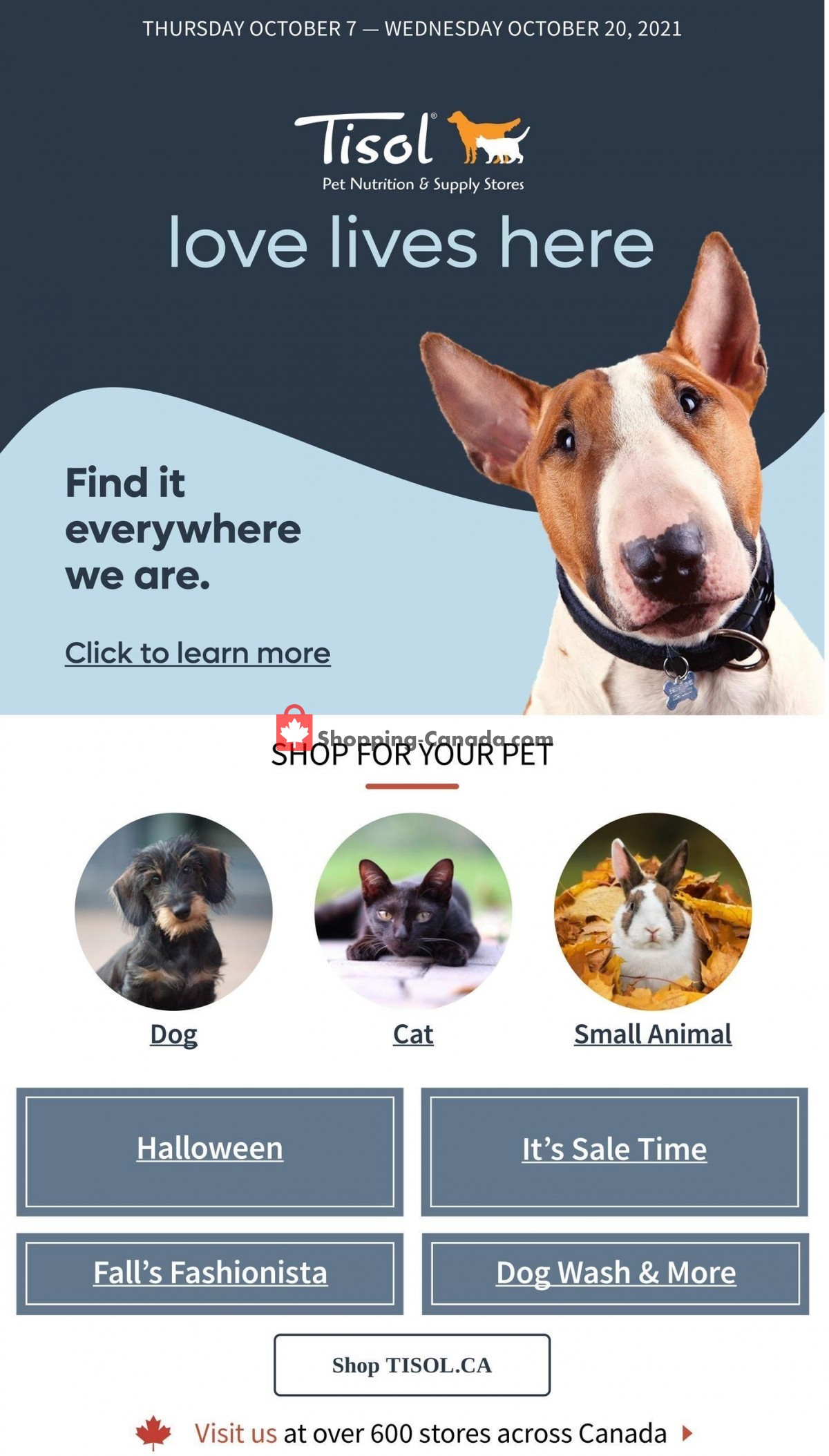 Flyer Tisol Pet Nutrition And Supply Stores Canada - from Thursday October 7, 2021 to Wednesday October 20, 2021
