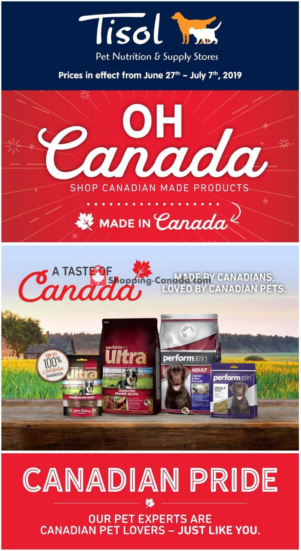 Flyer Tisol Pet Nutrition And Supply Stores Canada - from Thursday June 27, 2019 to Sunday July 7, 2019