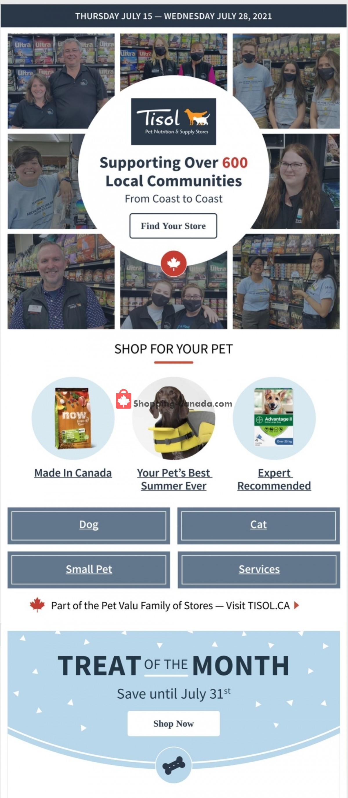 Flyer Tisol Pet Nutrition And Supply Stores Canada - from Thursday July 15, 2021 to Wednesday July 28, 2021