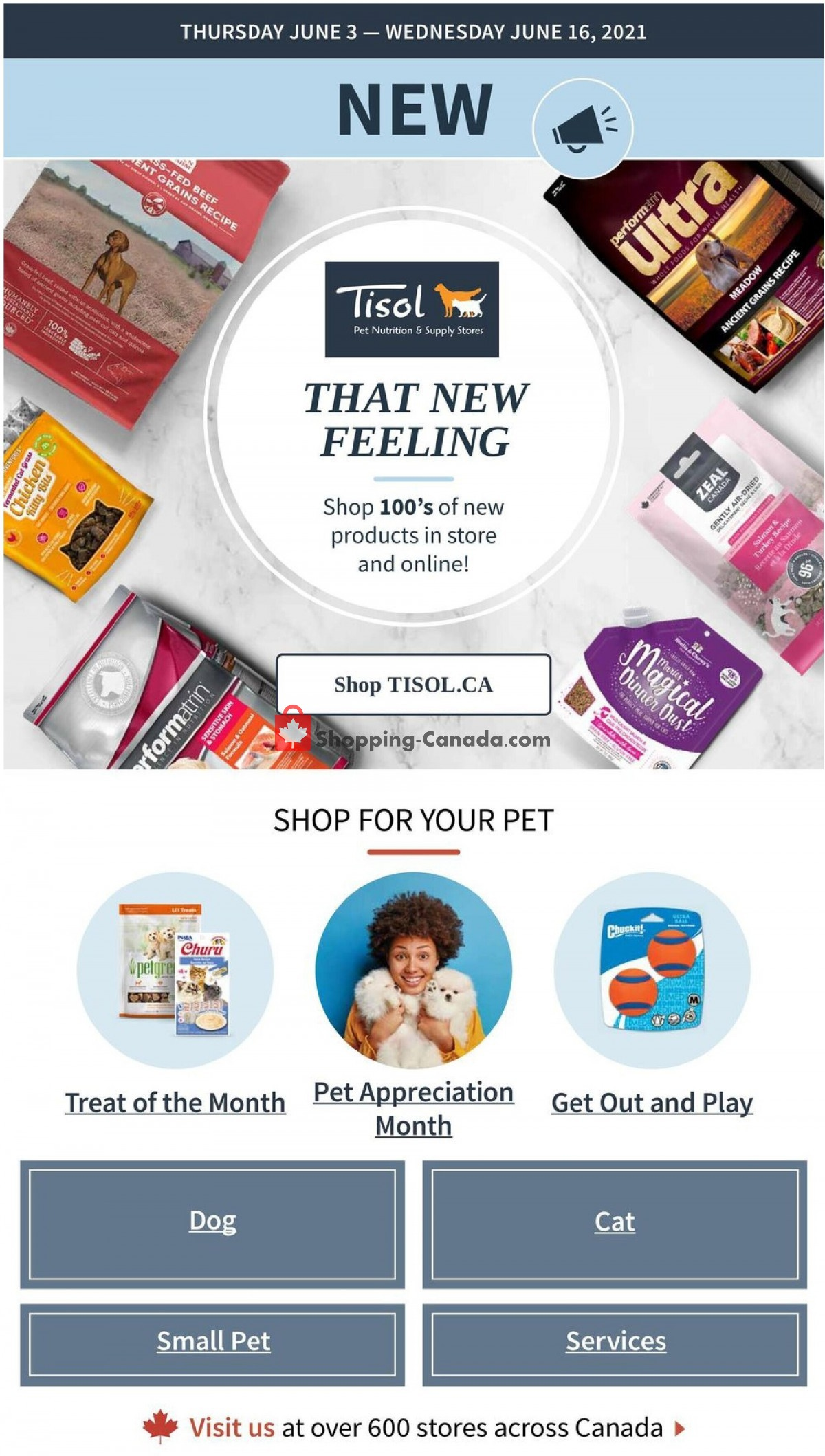 Flyer Tisol Pet Nutrition And Supply Stores Canada - from Thursday June 3, 2021 to Wednesday June 16, 2021
