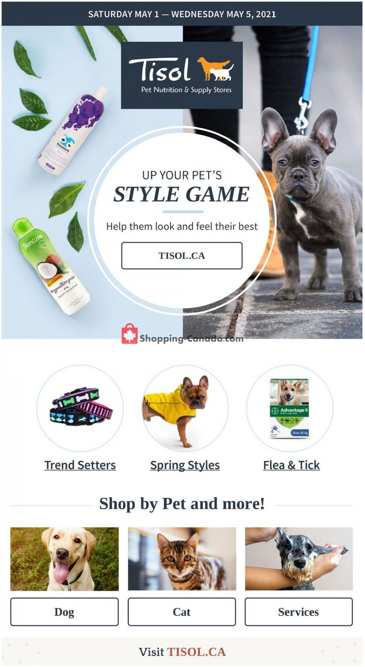 Flyer Tisol Pet Nutrition And Supply Stores Canada - from Saturday May 1, 2021 to Wednesday May 5, 2021