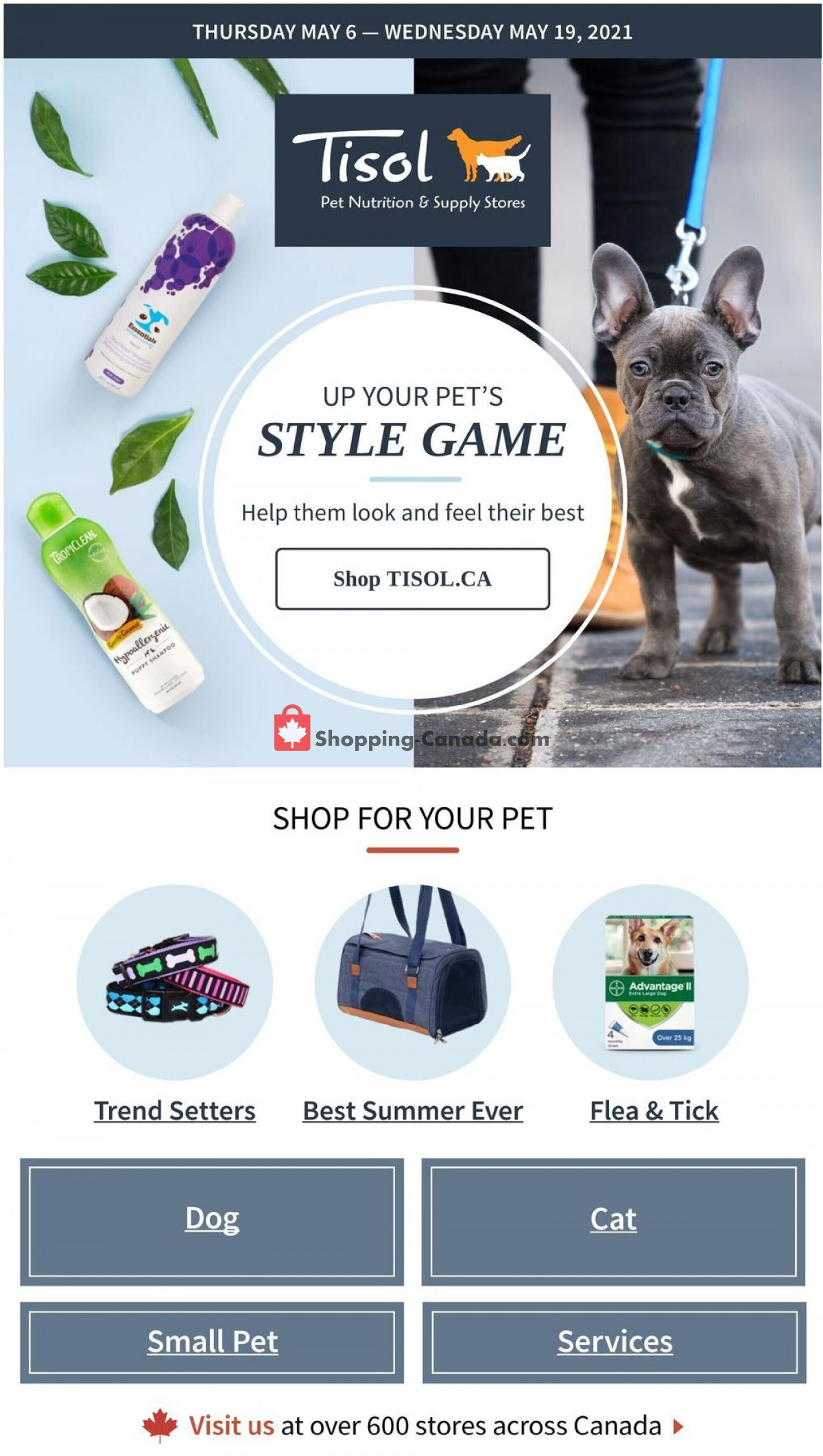Flyer Tisol Pet Nutrition And Supply Stores Canada - from Thursday May 6, 2021 to Wednesday May 19, 2021