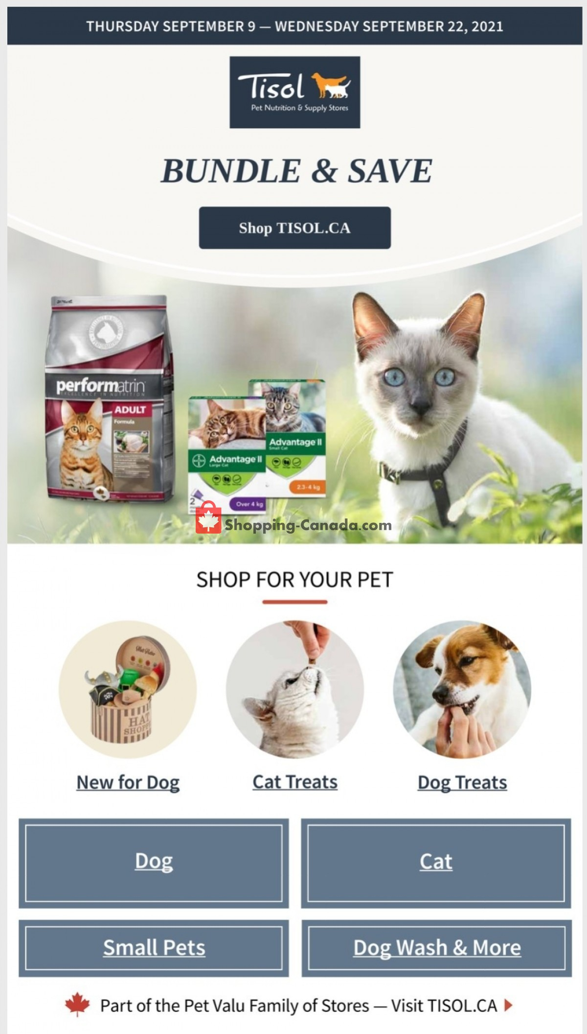 Flyer Tisol Pet Nutrition And Supply Stores Canada - from Thursday September 9, 2021 to Wednesday September 22, 2021
