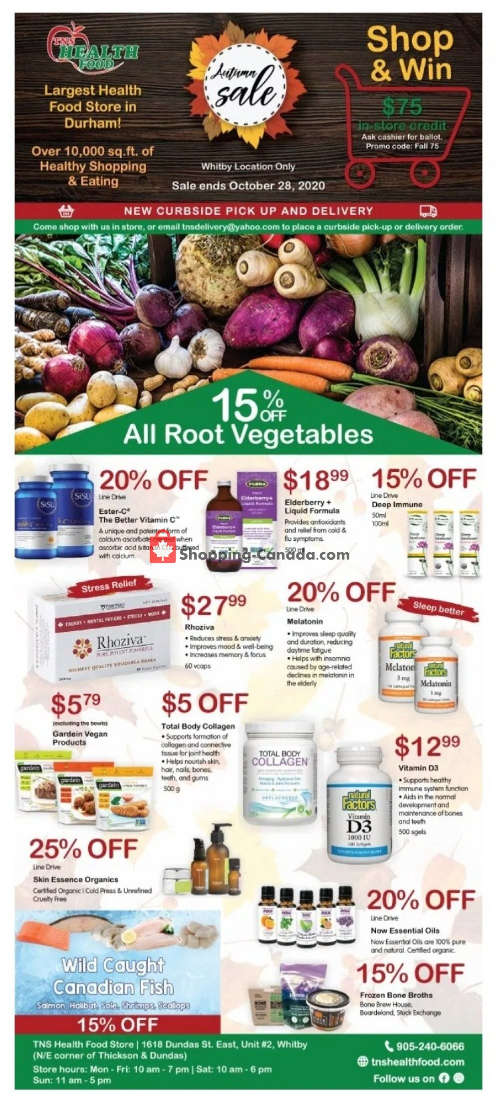 Flyer TNS Health Food  Canada - from Sunday September 27, 2020 to Wednesday October 28, 2020
