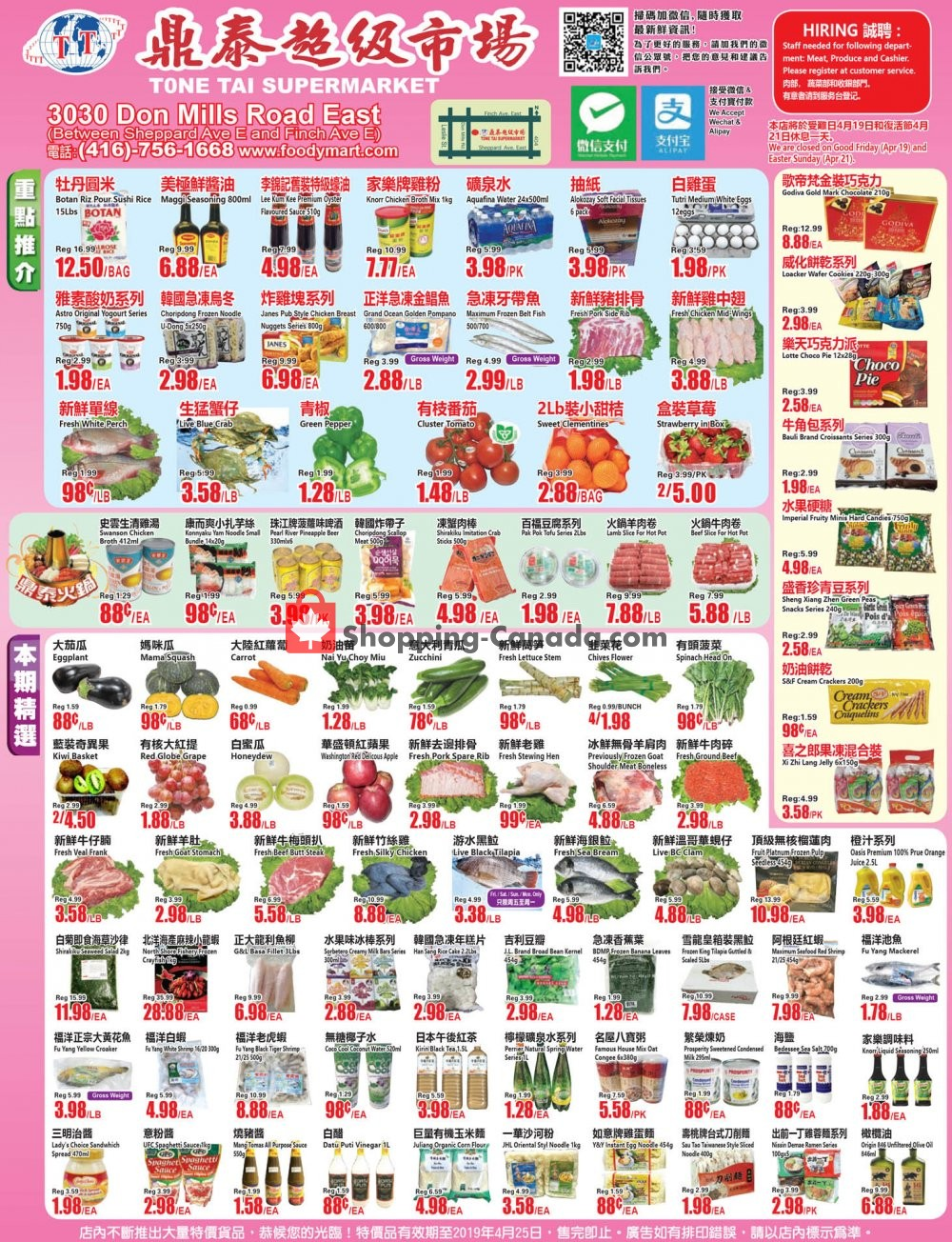 Flyer Tone Tai Supermarket Canada - from Friday April 19, 2019 to Thursday April 25, 2019