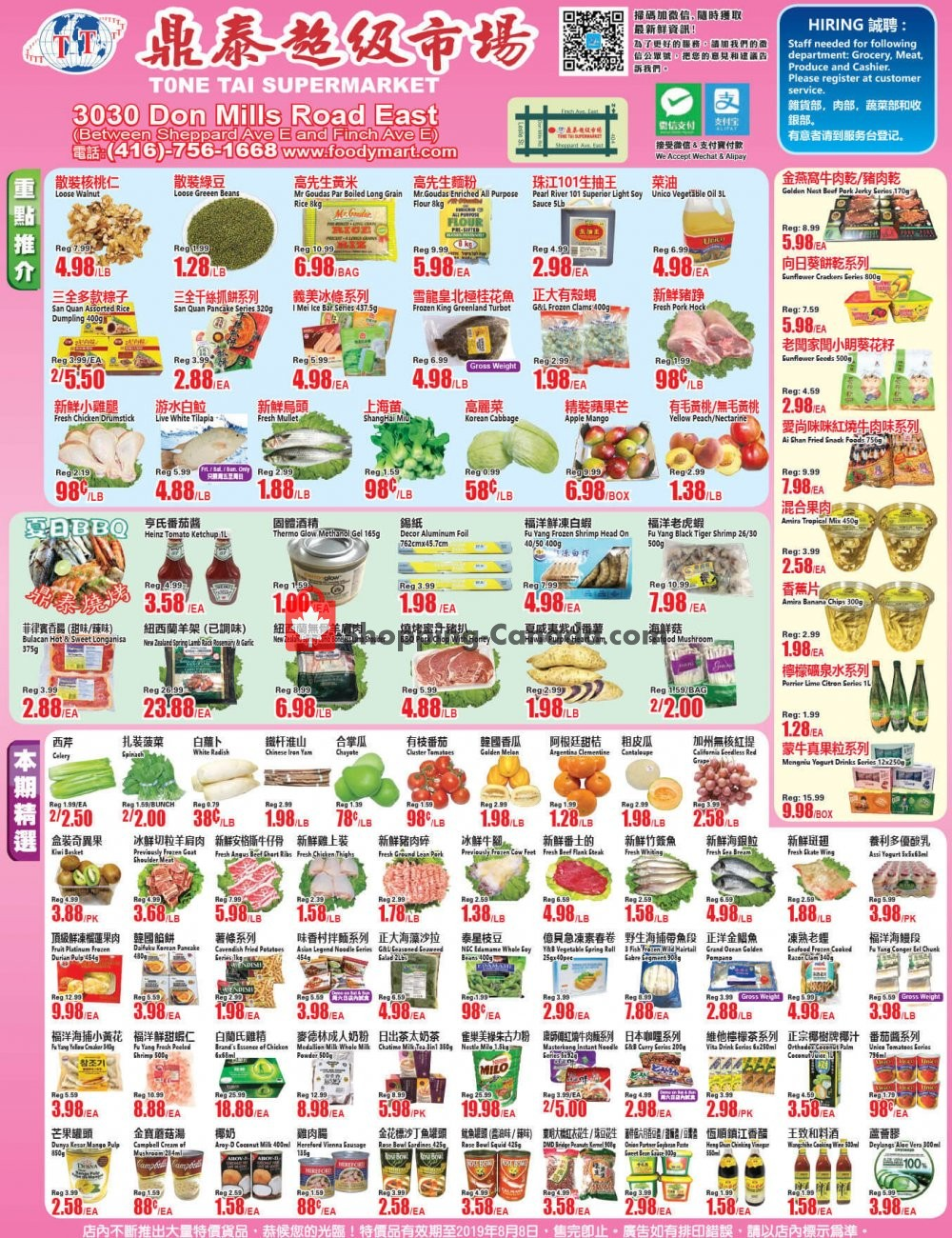 Flyer Tone Tai Supermarket Canada - from Friday August 2, 2019 to Thursday August 8, 2019