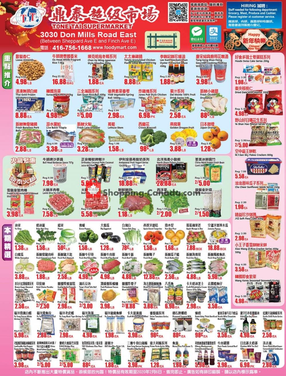 Flyer Tone Tai Supermarket Canada - from Friday January 31, 2020 to Thursday February 6, 2020