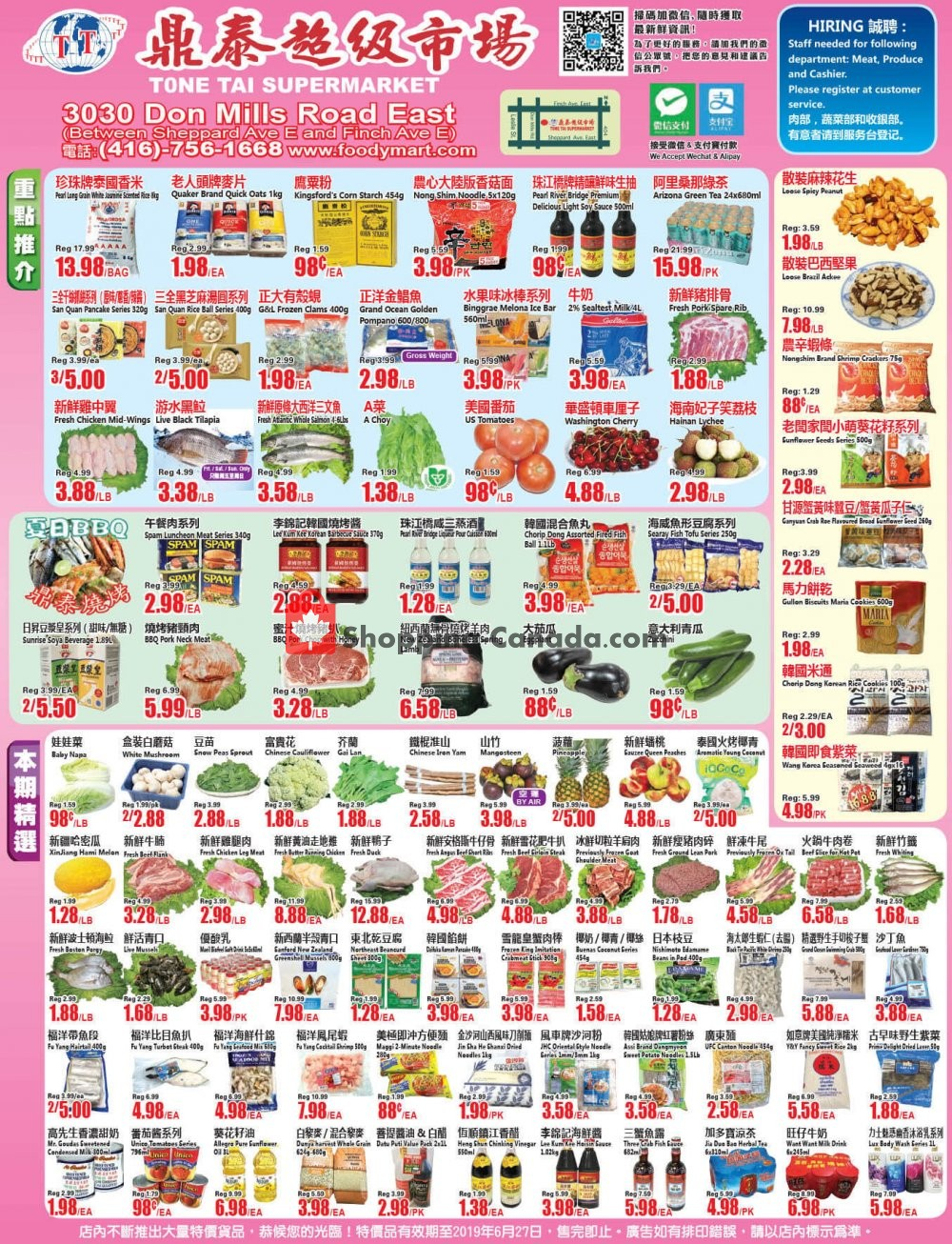 Flyer Tone Tai Supermarket Canada - from Friday June 21, 2019 to Thursday June 27, 2019