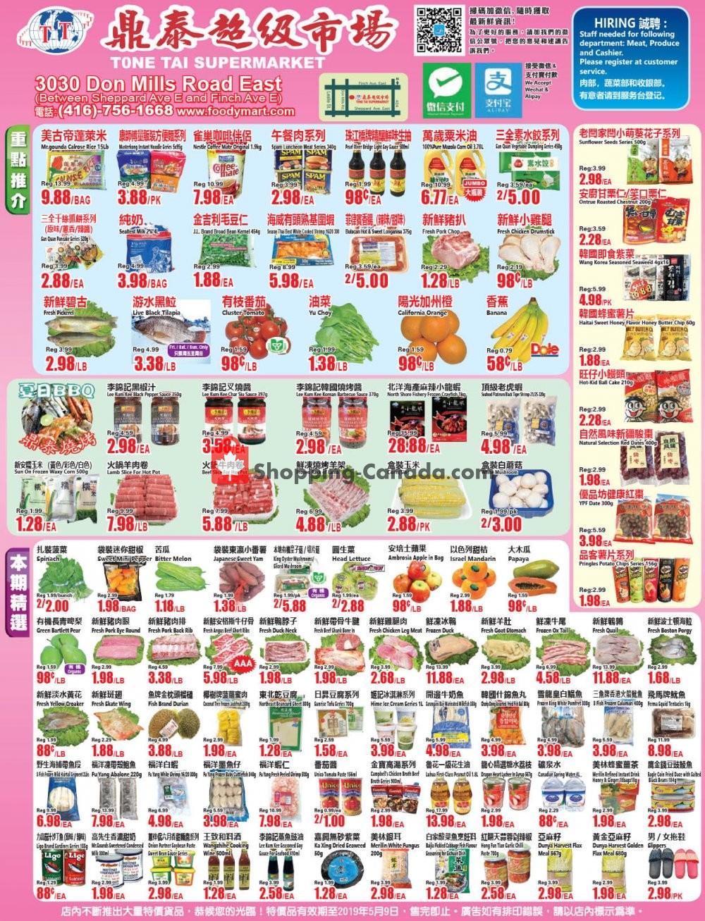 Flyer Tone Tai Supermarket Canada - from Friday May 3, 2019 to Thursday May 9, 2019