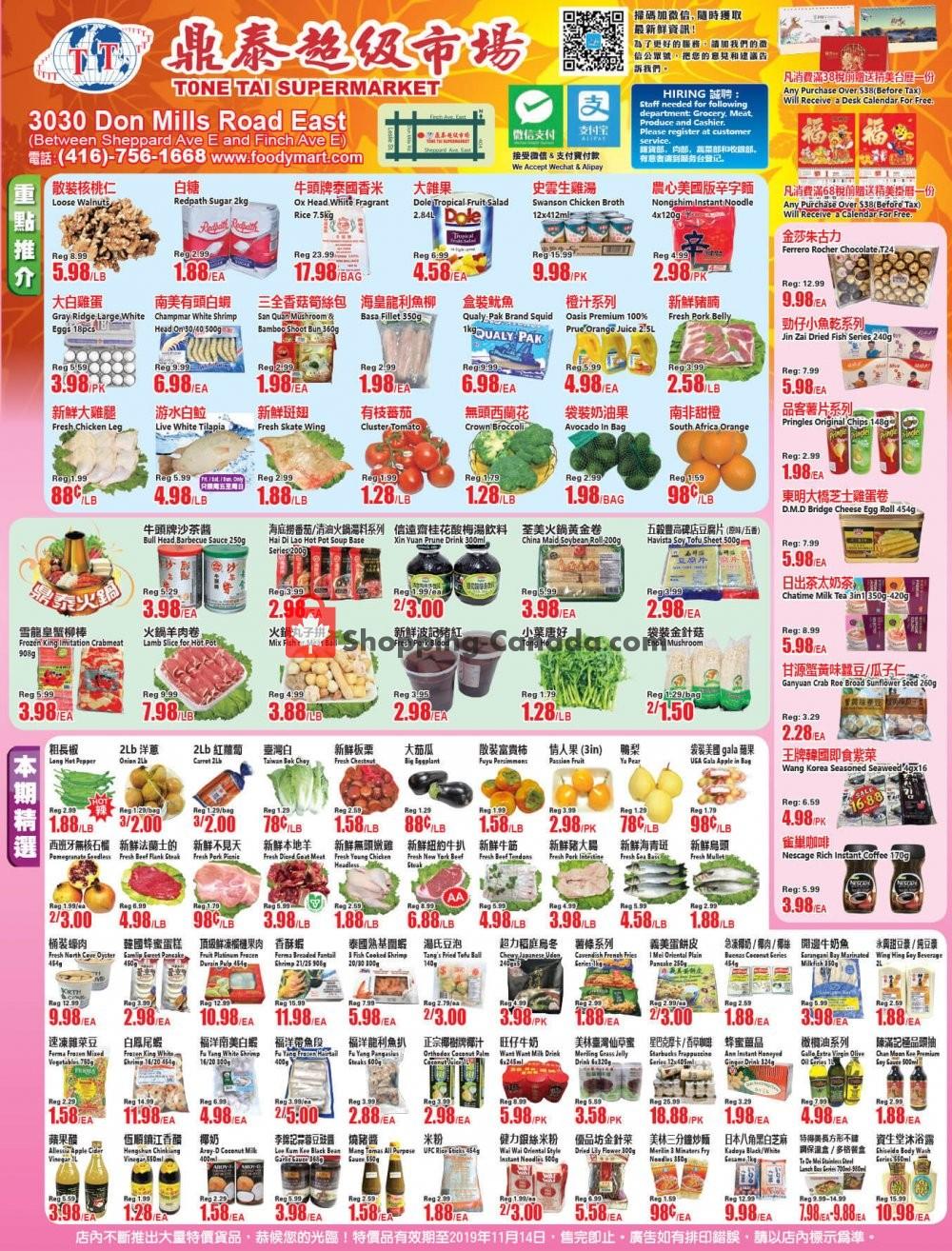 Flyer Tone Tai Supermarket Canada - from Friday November 8, 2019 to Thursday November 14, 2019