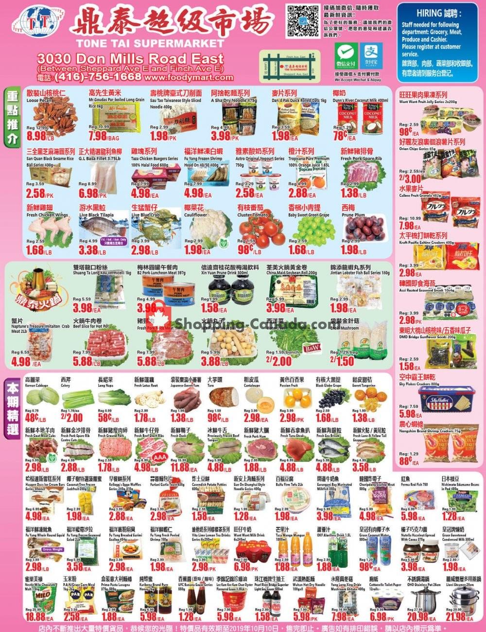Flyer Tone Tai Supermarket Canada - from Friday October 4, 2019 to Thursday October 10, 2019