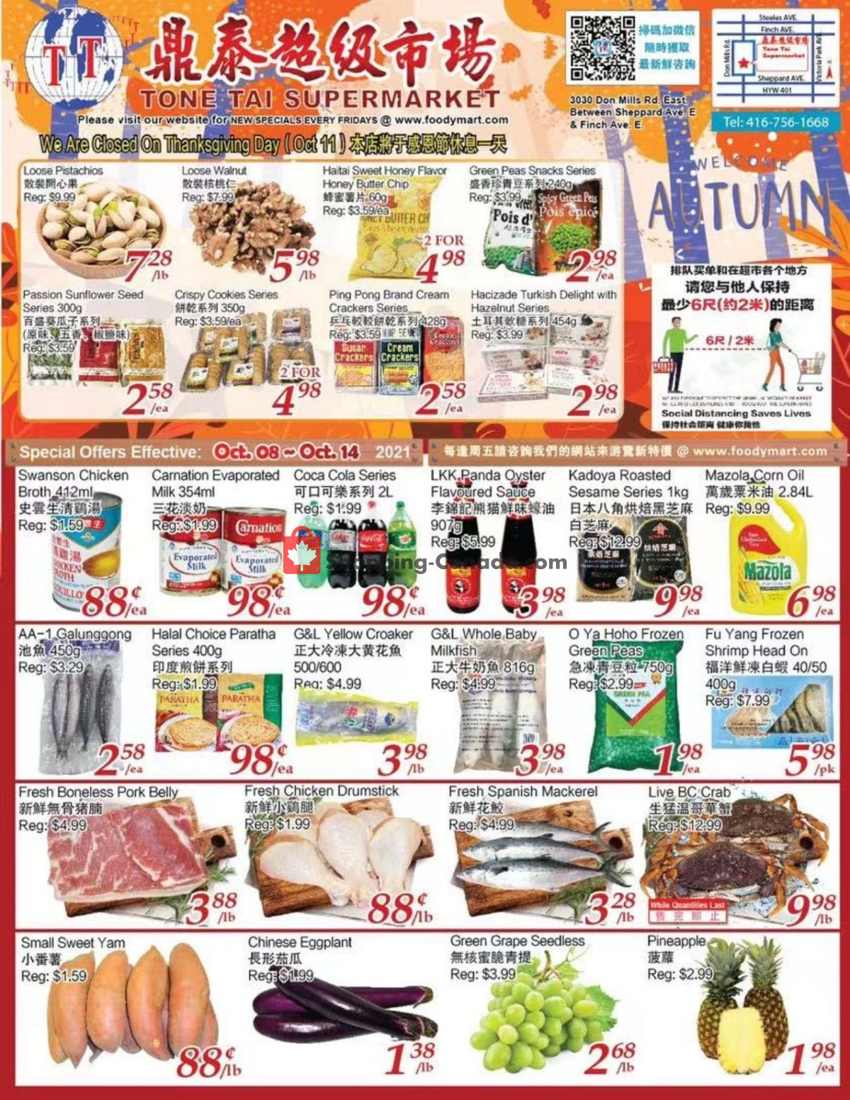 Flyer Tone Tai Supermarket Canada - from Friday October 8, 2021 to Thursday October 14, 2021