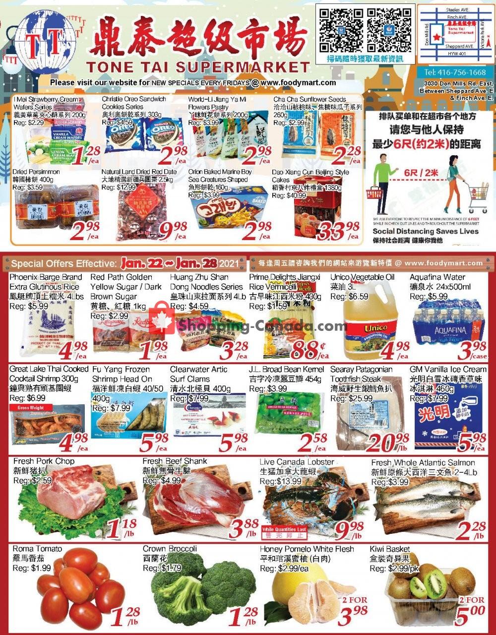 Flyer Tone Tai Supermarket Canada - from Friday January 22, 2021 to Thursday January 28, 2021