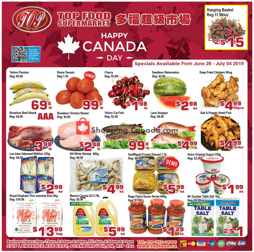Flyer Top Food Canada - from Friday June 28, 2019 to Thursday July 4, 2019