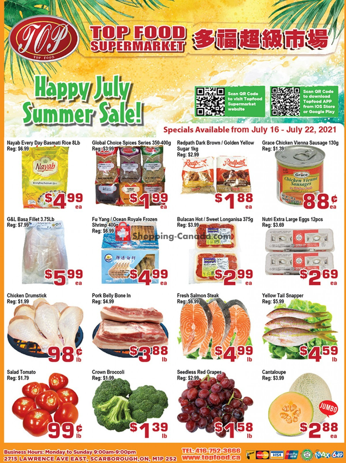 Flyer Top Food Canada - from Friday July 16, 2021 to Thursday July 22, 2021