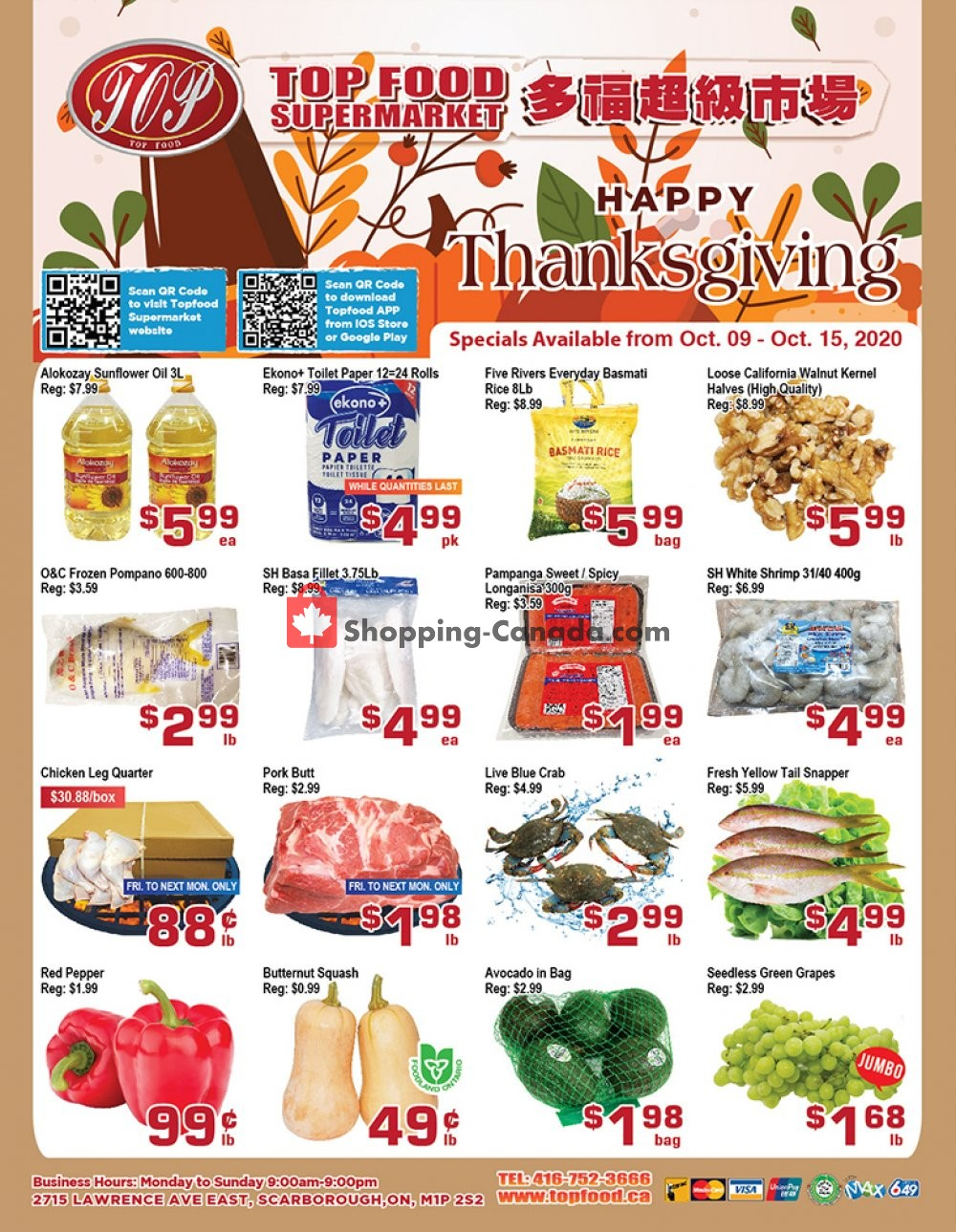 Flyer Top Food Canada - from Friday October 9, 2020 to Thursday October 15, 2020