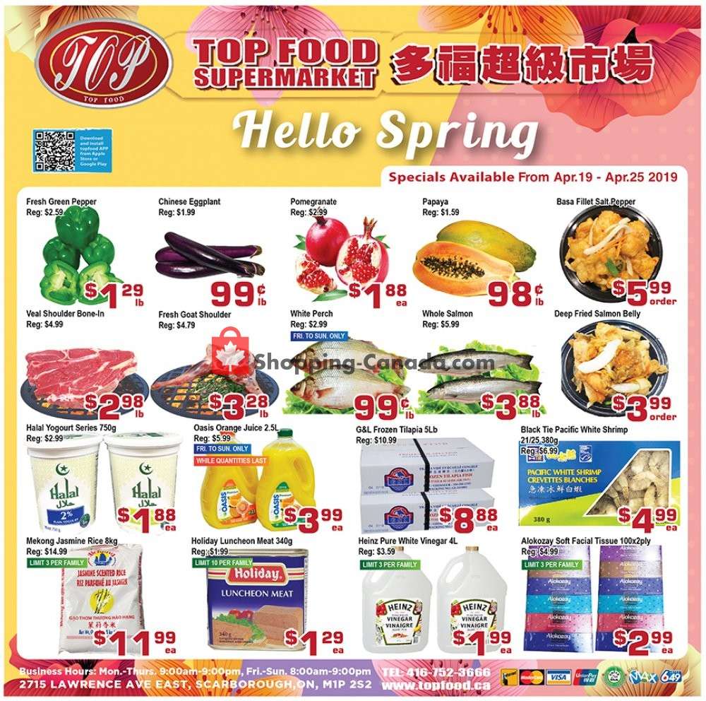 Flyer Top Food Canada - from Friday April 19, 2019 to Thursday April 25, 2019