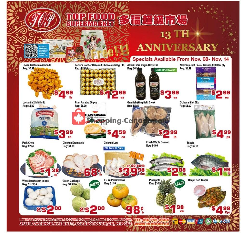 Flyer Top Food Canada - from Friday November 8, 2019 to Thursday November 14, 2019