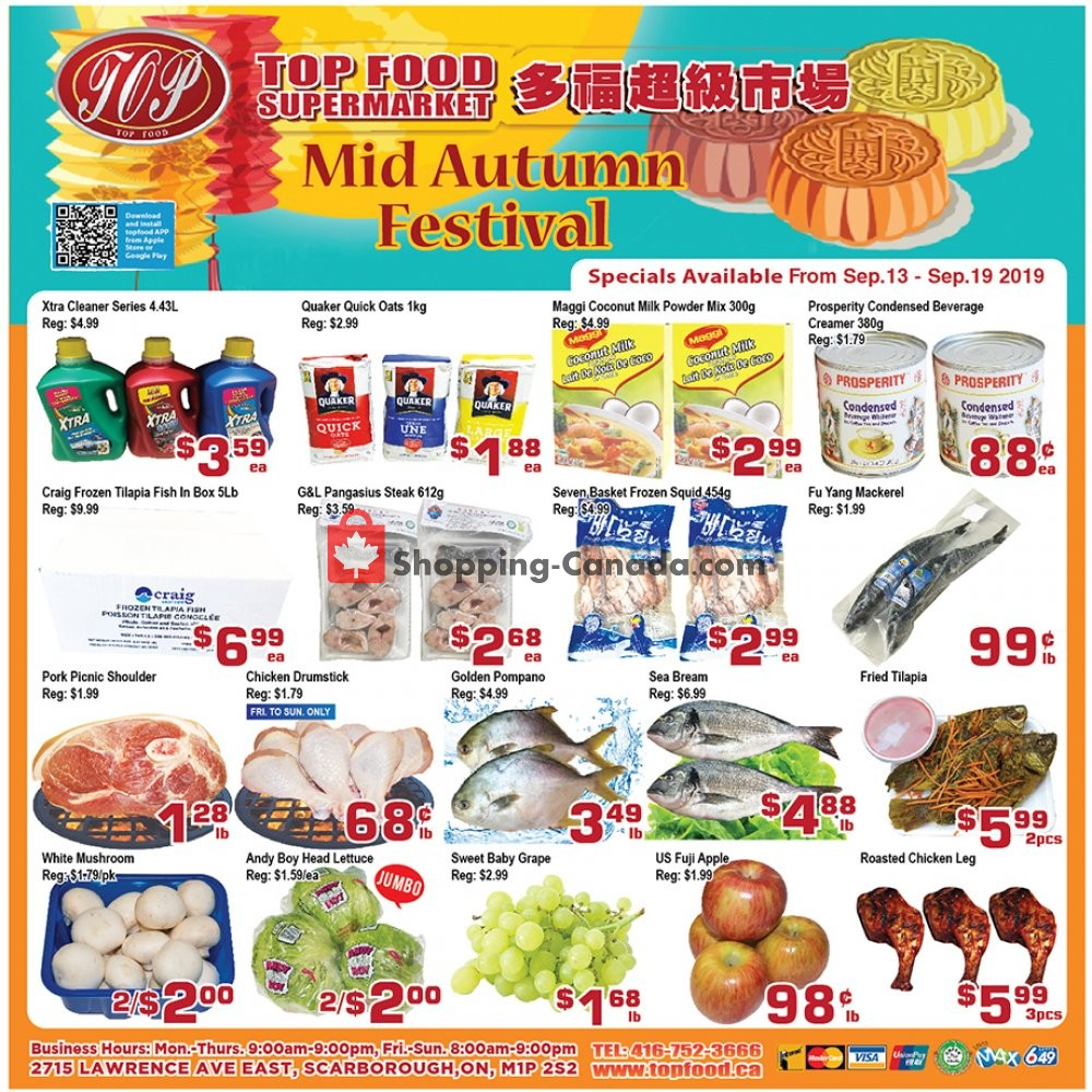 Flyer Top Food Canada - from Friday September 13, 2019 to Thursday September 19, 2019