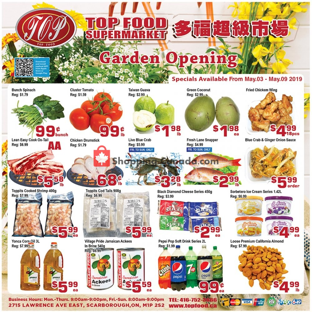 Flyer Top Food Canada - from Friday May 3, 2019 to Thursday May 9, 2019