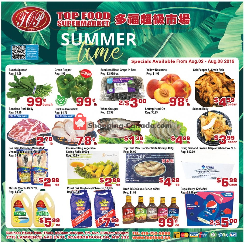 Flyer Top Food Canada - from Friday August 2, 2019 to Thursday August 8, 2019