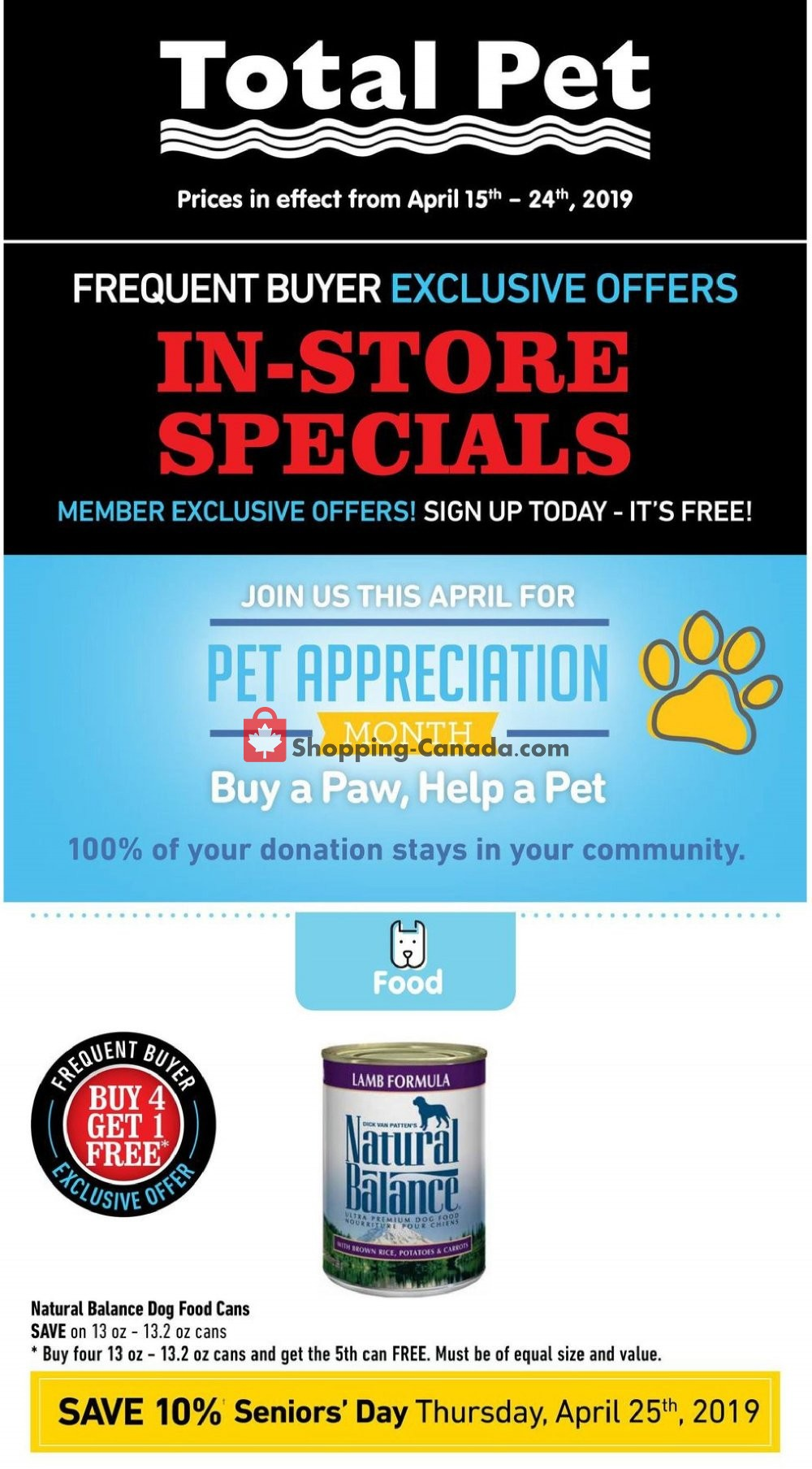 Flyer Total Pet Canada - from Monday April 15, 2019 to Wednesday April 24, 2019