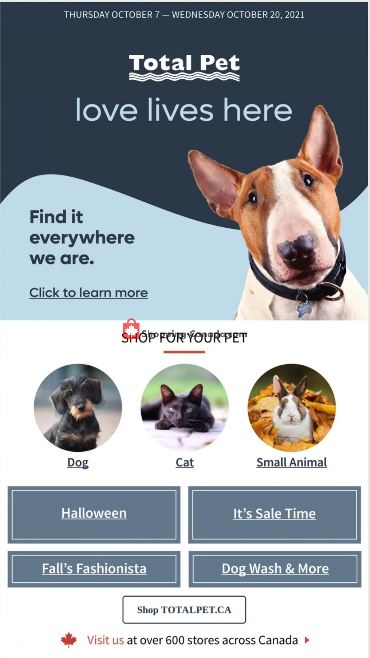 Flyer Total Pet Canada - from Thursday October 7, 2021 to Wednesday October 20, 2021