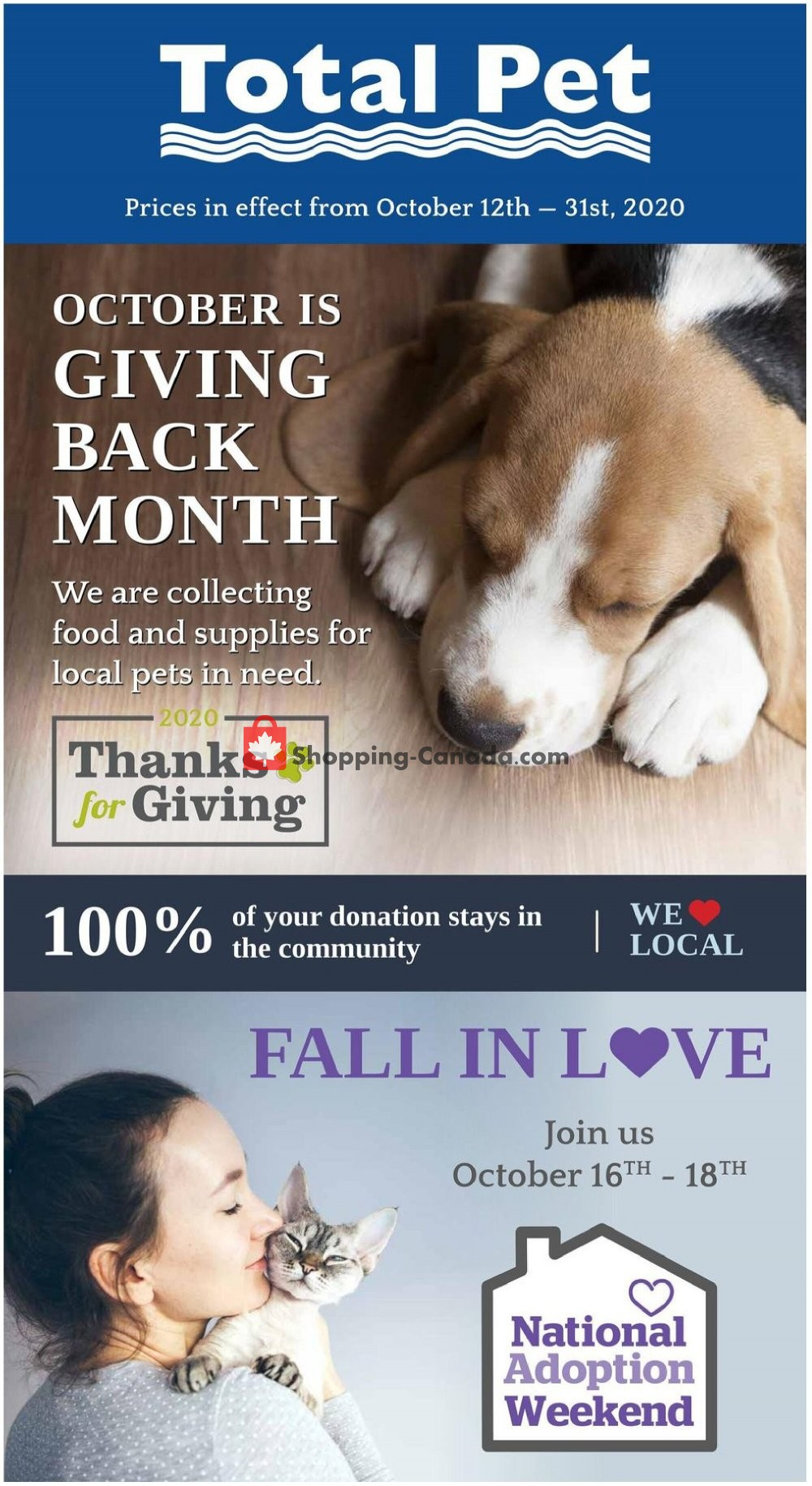 Flyer Total Pet Canada - from Monday October 12, 2020 to Saturday October 31, 2020
