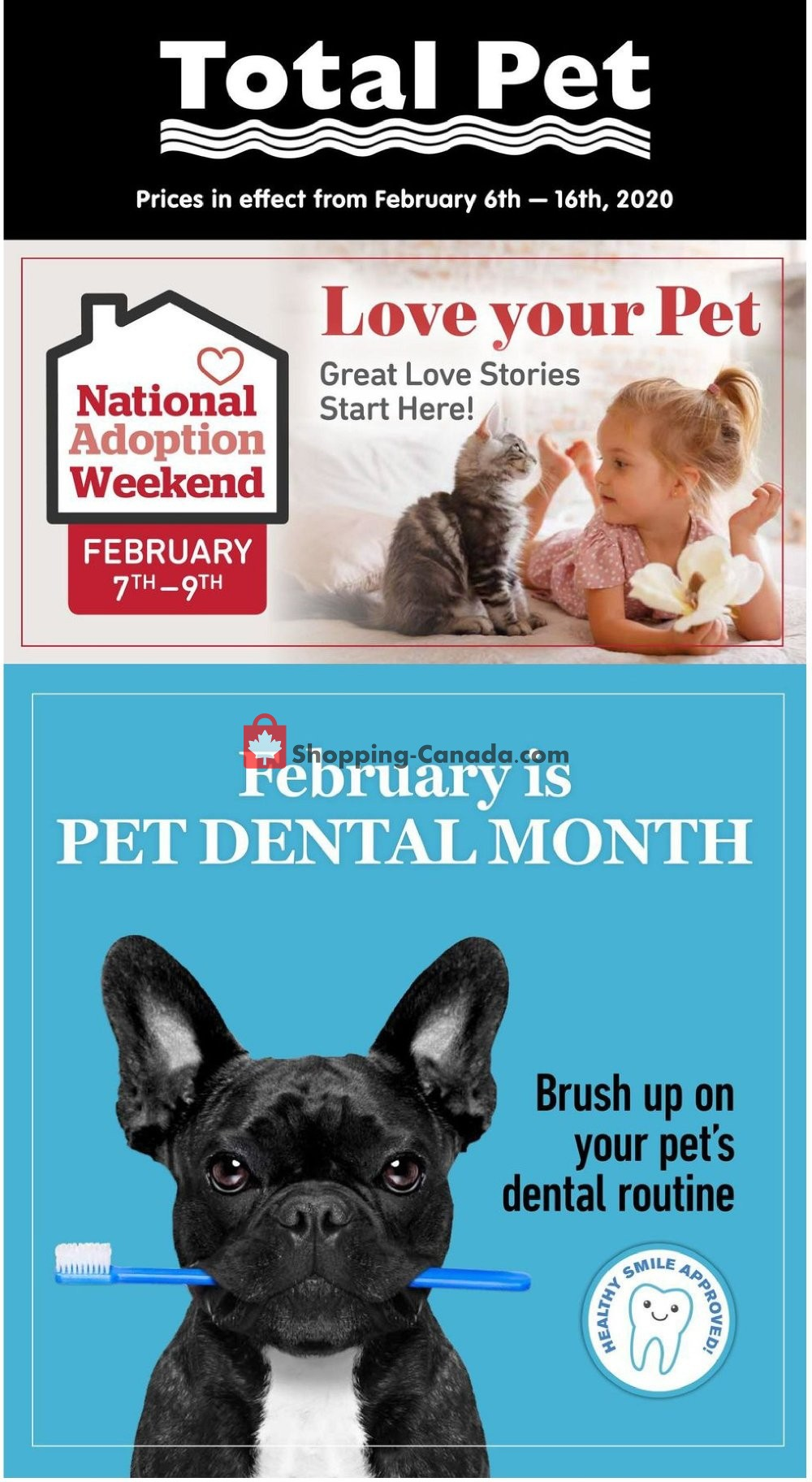 Flyer Total Pet Canada - from Thursday February 6, 2020 to Sunday February 16, 2020