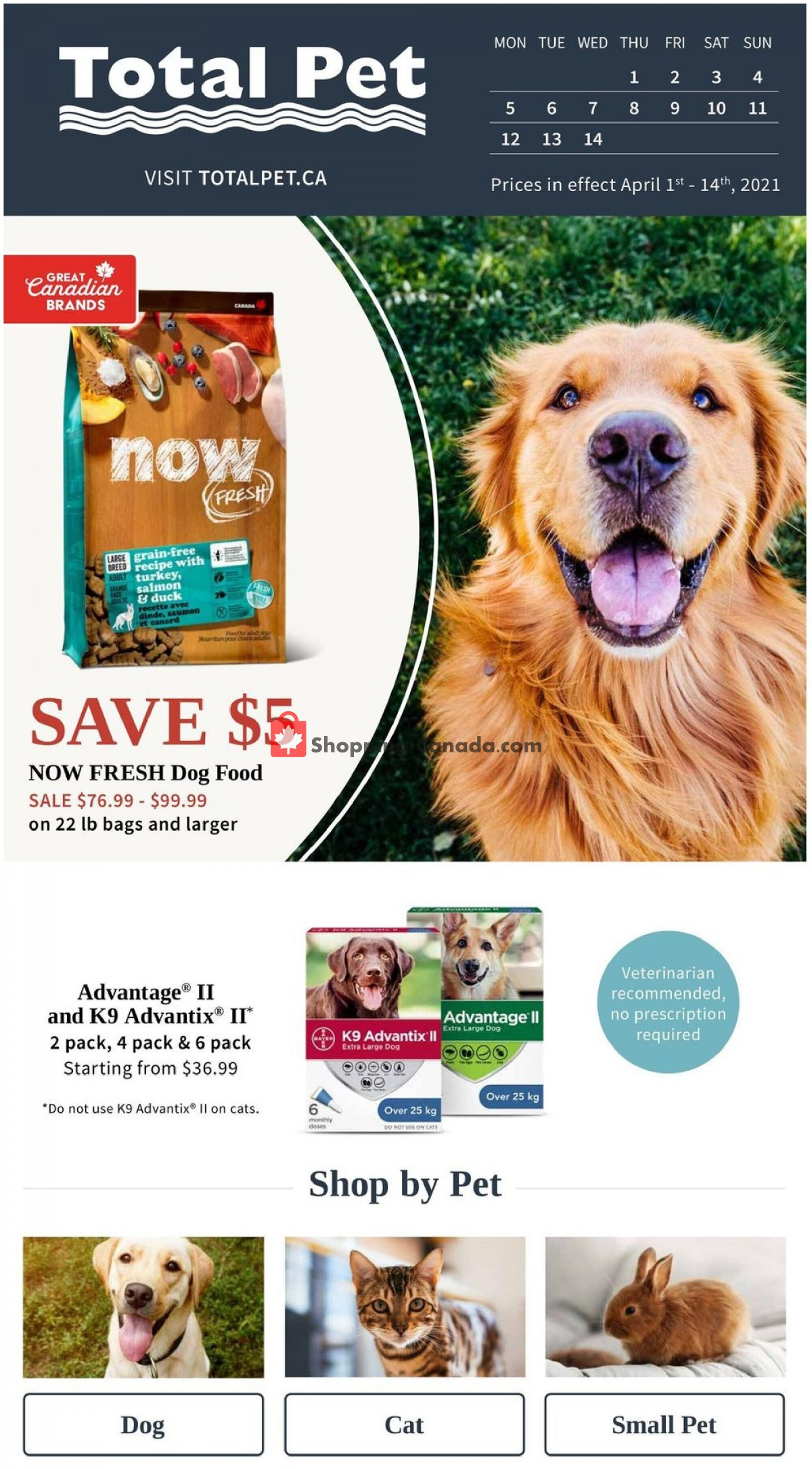Flyer Total Pet Canada - from Thursday April 1, 2021 to Wednesday April 14, 2021