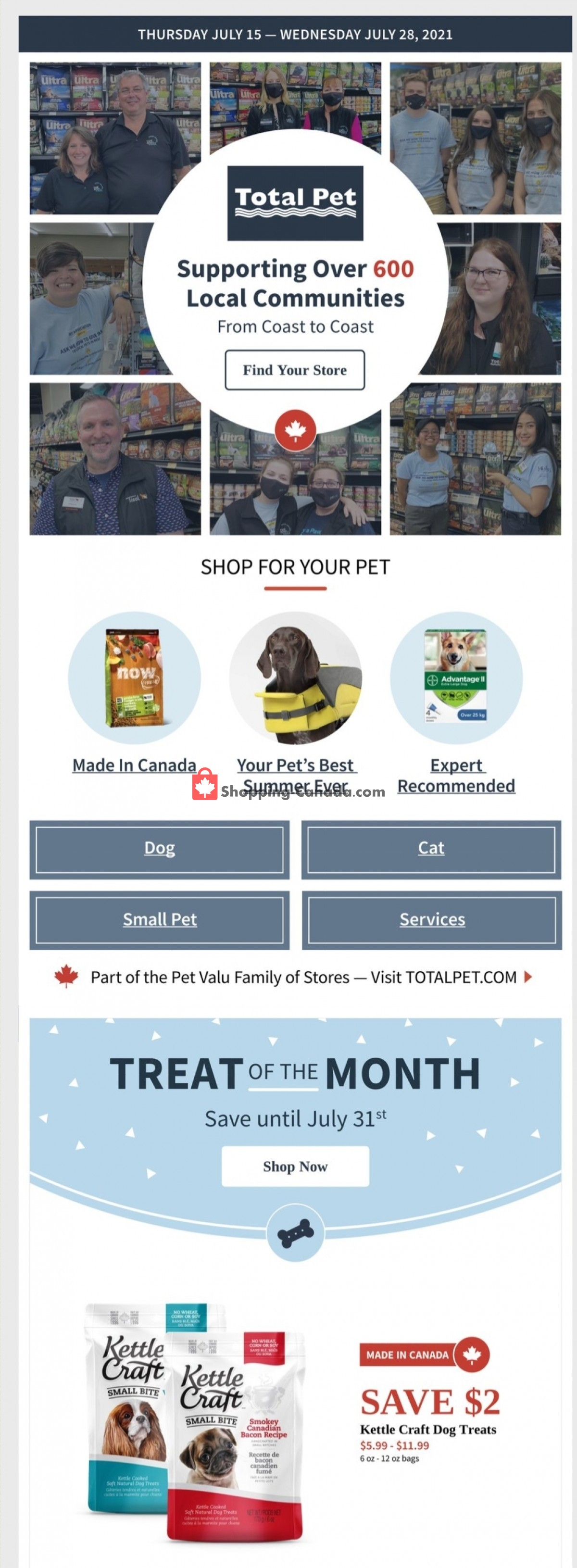 Flyer Total Pet Canada - from Thursday July 15, 2021 to Wednesday July 28, 2021