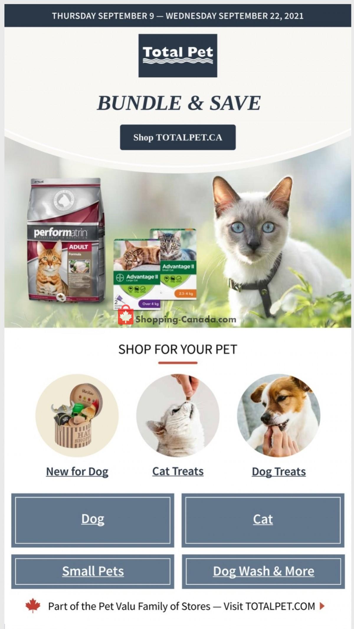Flyer Total Pet Canada - from Thursday September 9, 2021 to Wednesday September 22, 2021