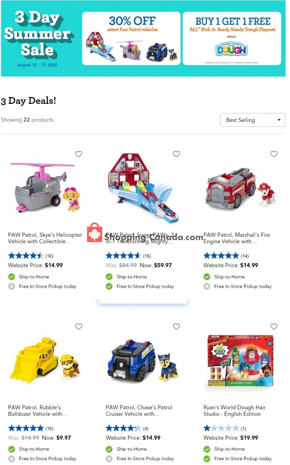 Flyer Toys R Us / Babies R Us Canada - from Monday August 10, 2020 to Wednesday August 12, 2020