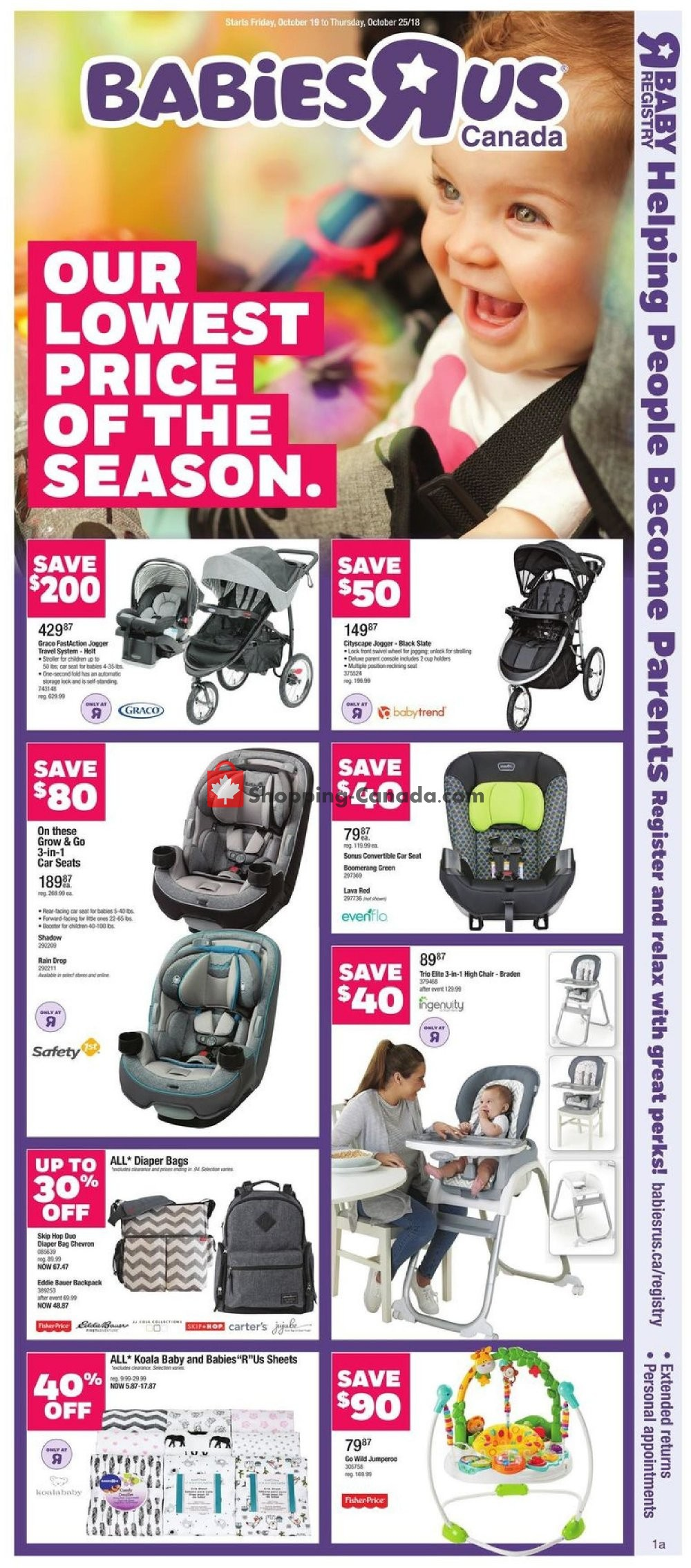 Flyer Toys R Us / Babies R Us Canada - from Friday October 19, 2018 to Thursday October 25, 2018