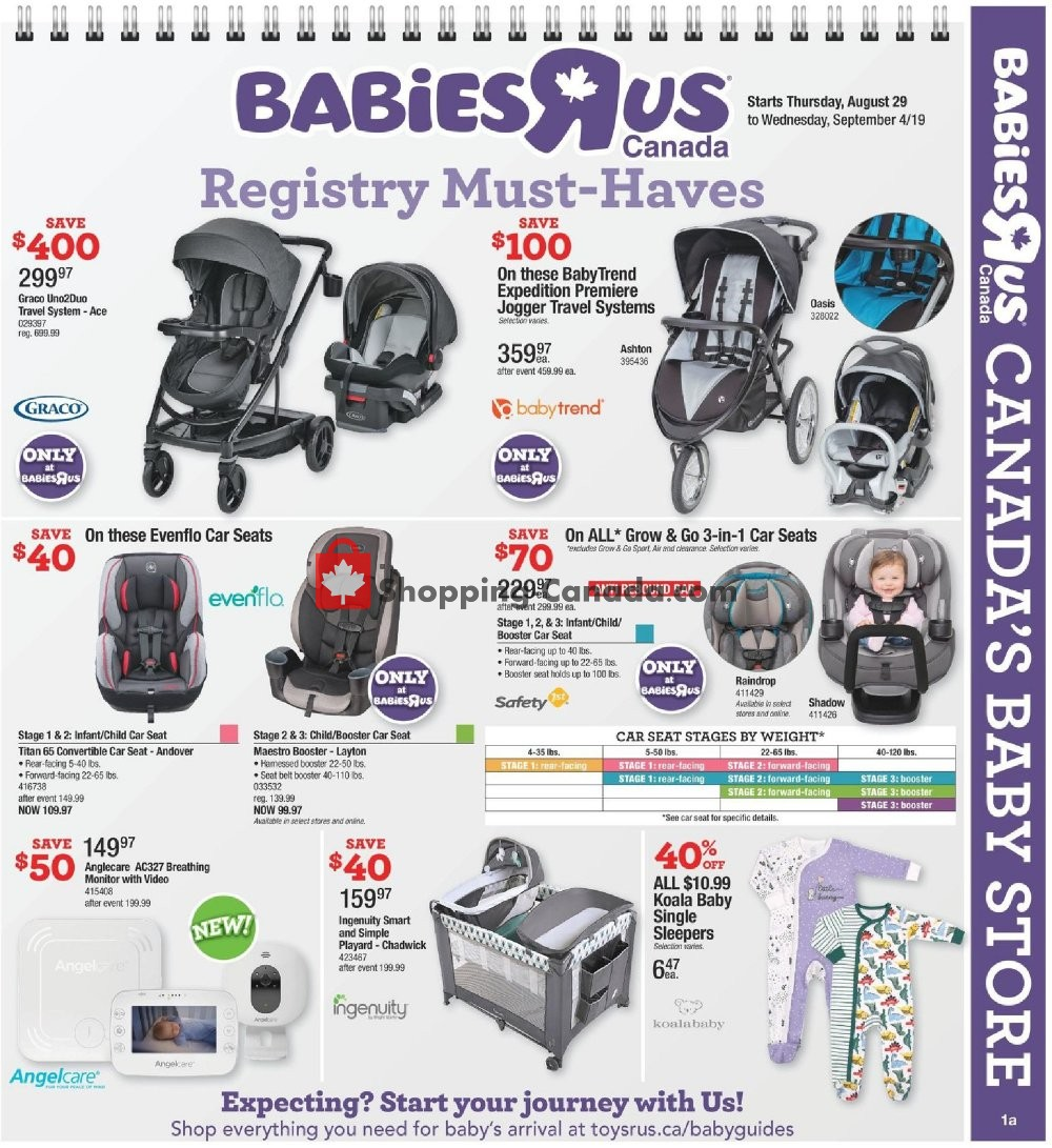 Flyer Toys R Us / Babies R Us Canada - from Thursday August 29, 2019 to Wednesday September 4, 2019