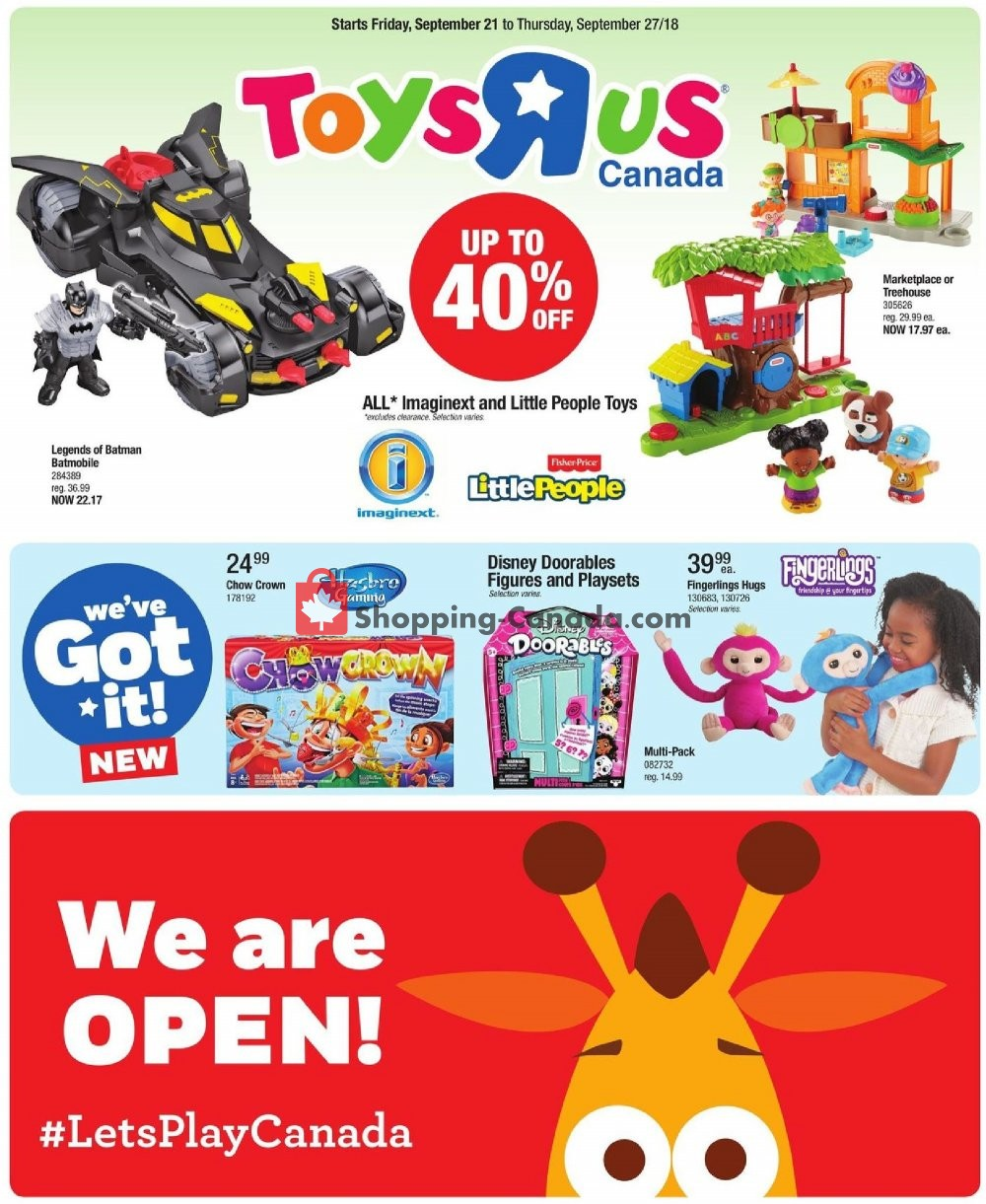 Flyer Toys R Us / Babies R Us Canada - from Friday September 21, 2018 to Thursday September 27, 2018