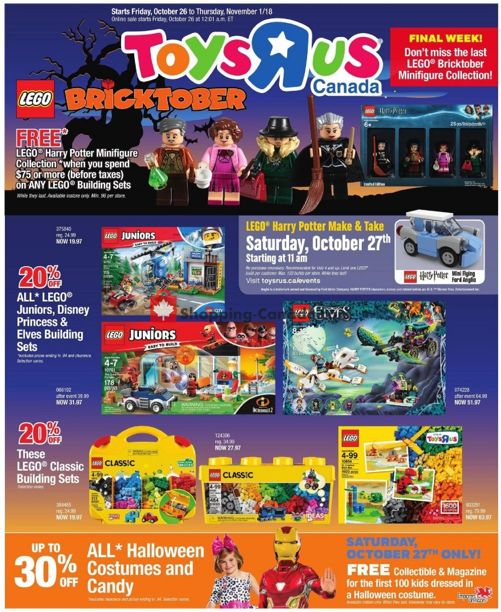 Flyer Toys R Us / Babies R Us Canada - from Friday October 26, 2018 to Thursday November 1, 2018